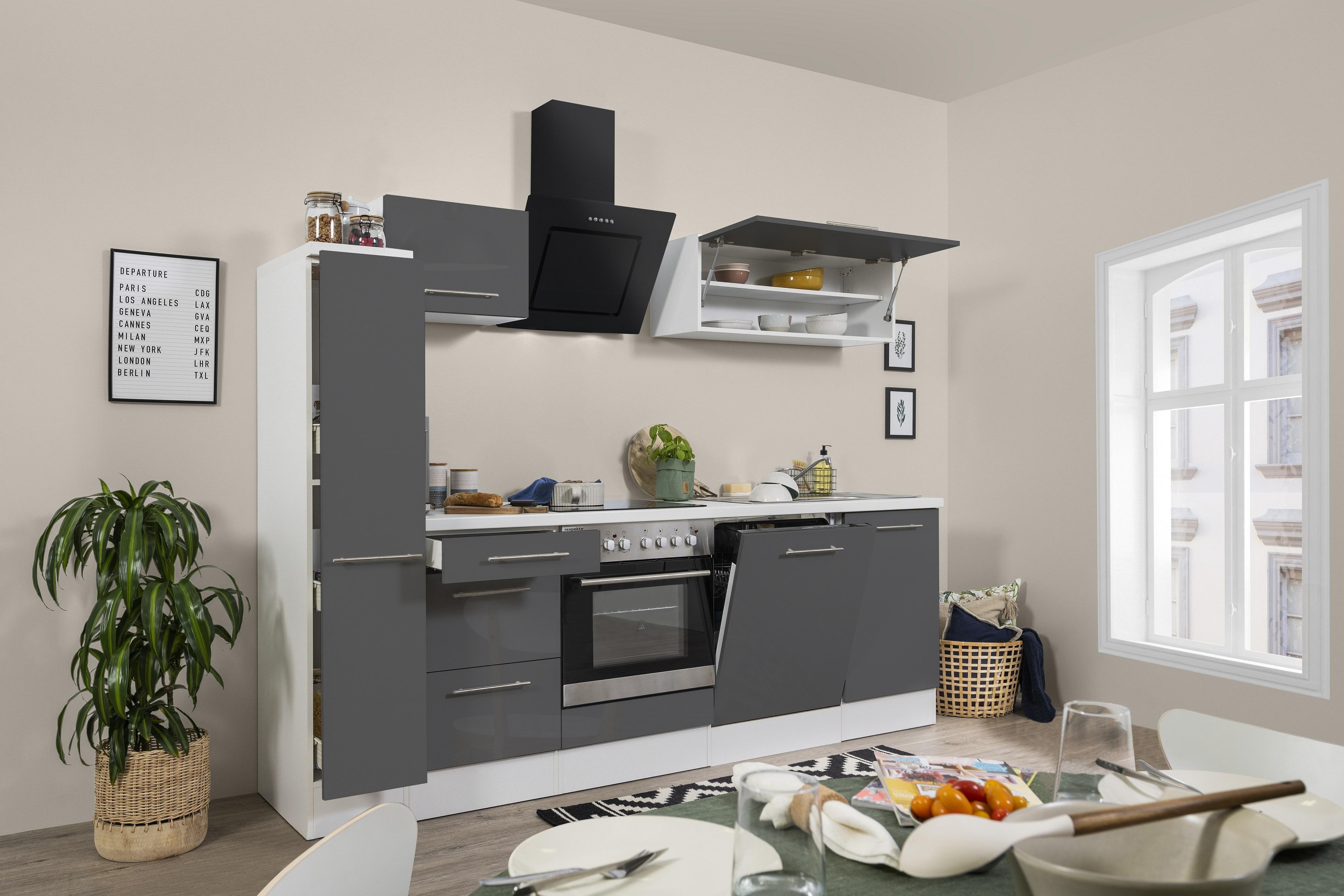 respekta Küchenzeile Küche Einbauküche Küchenblock Hochglanz 250 cm weiß grau