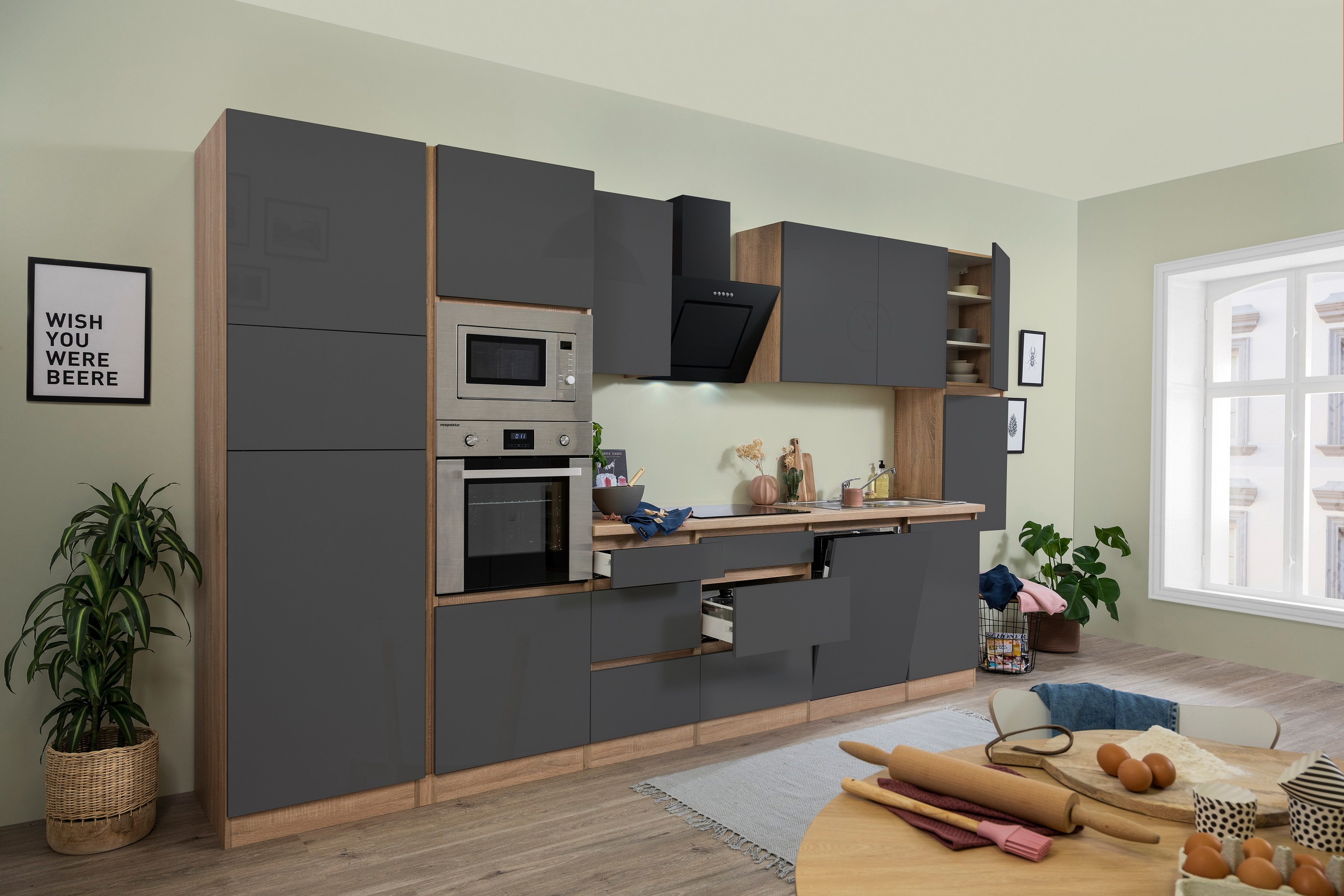 respekta Küchenzeile Küche Küchenblock grifflose Küche 395 cm Eiche Sonoma grau