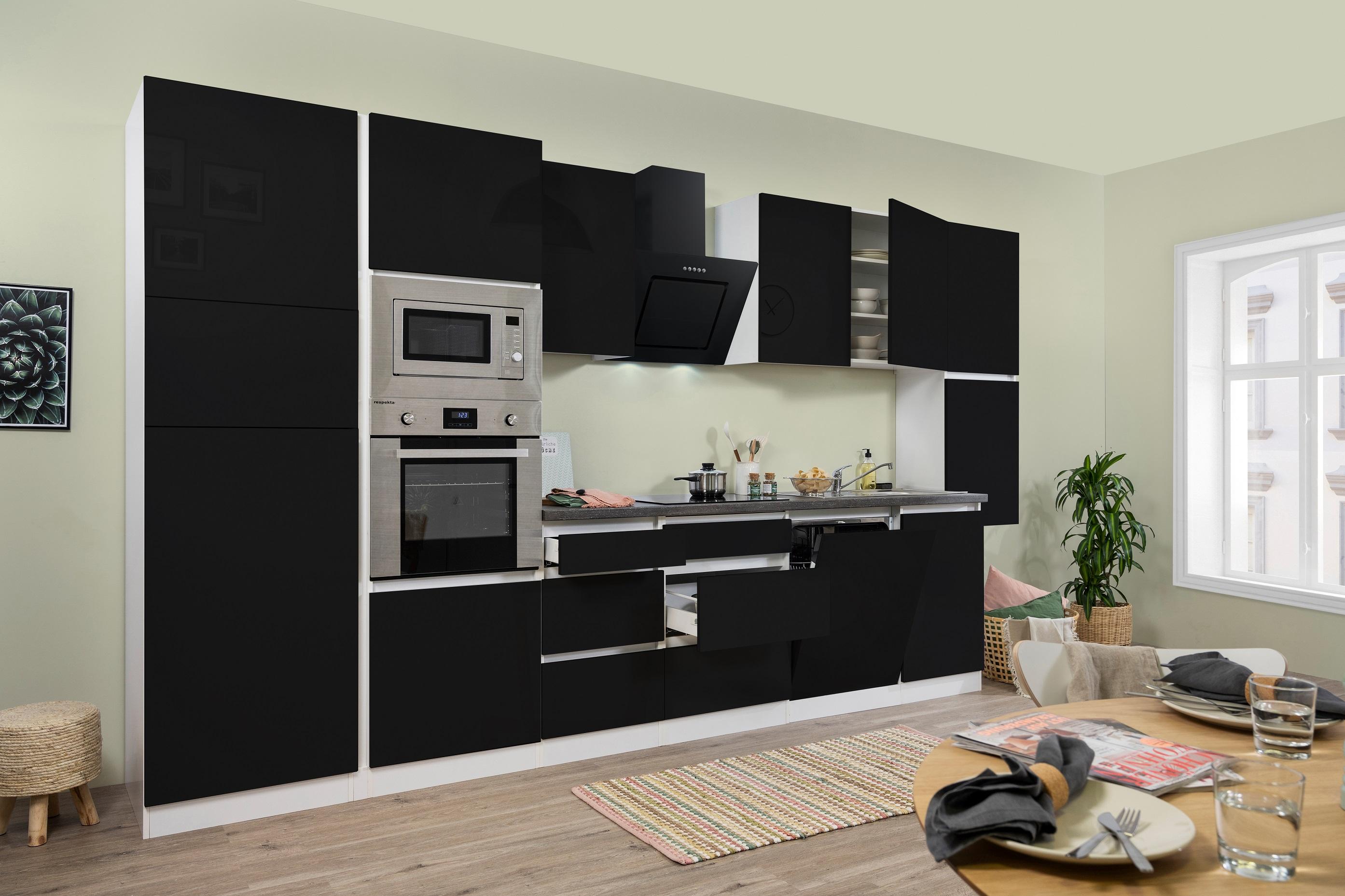 respekta Küchenzeile Küche Küchenblock grifflose Einbauküche 395cm weiß schwarz