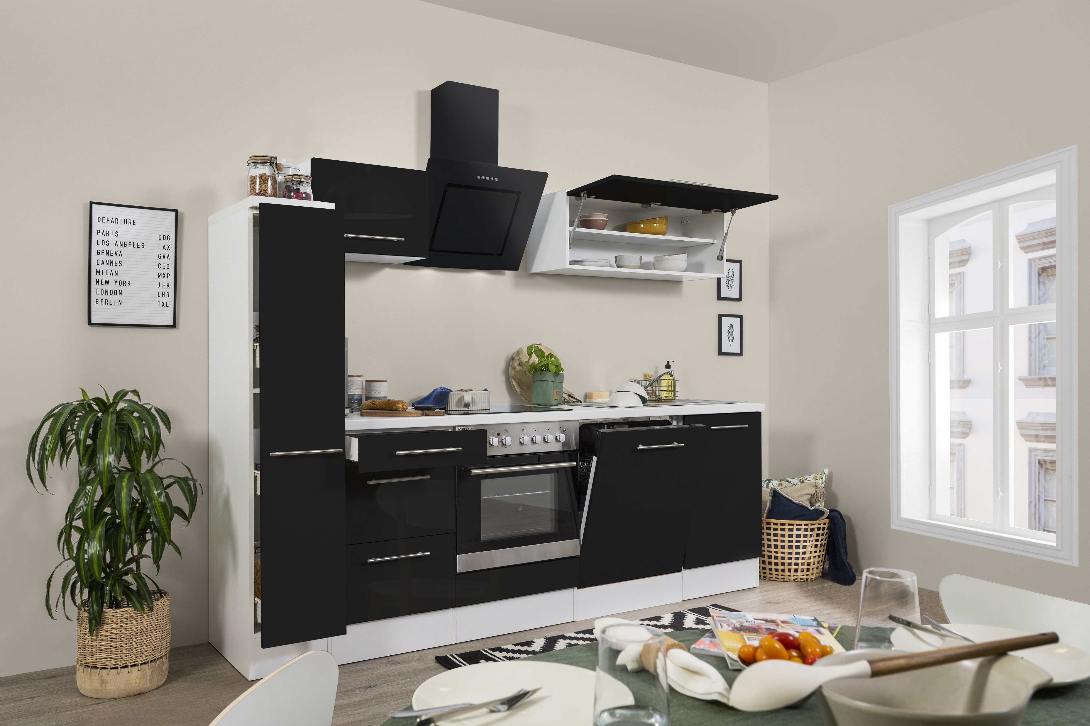 respekta Küchenzeile Küche Einbauküche Küchenblock Hochglanz 250cm weiß schwarz