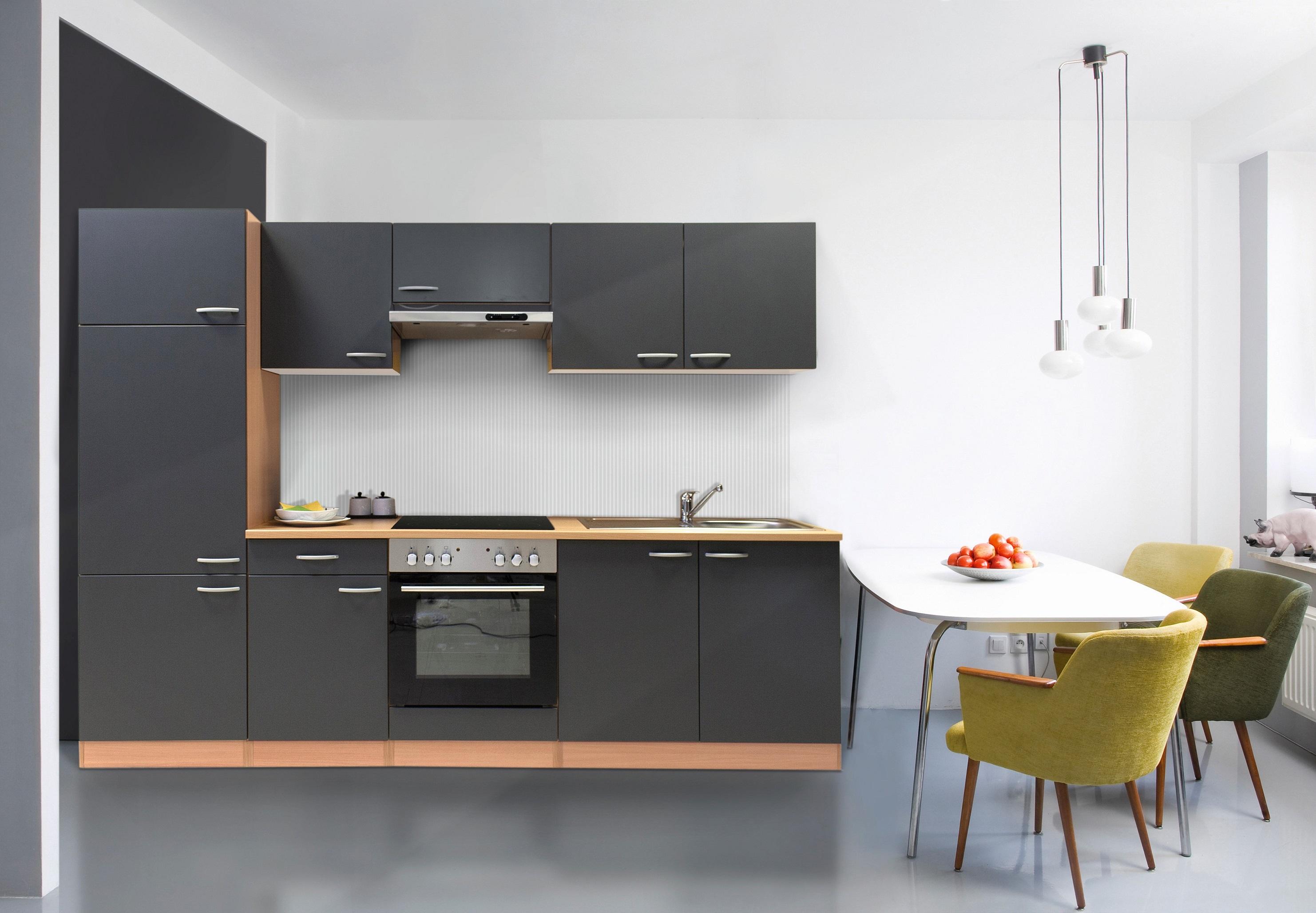 respekta Küche Küchenzeile Küchenblock Einbauküche Leerblock 270 cm Buche grau