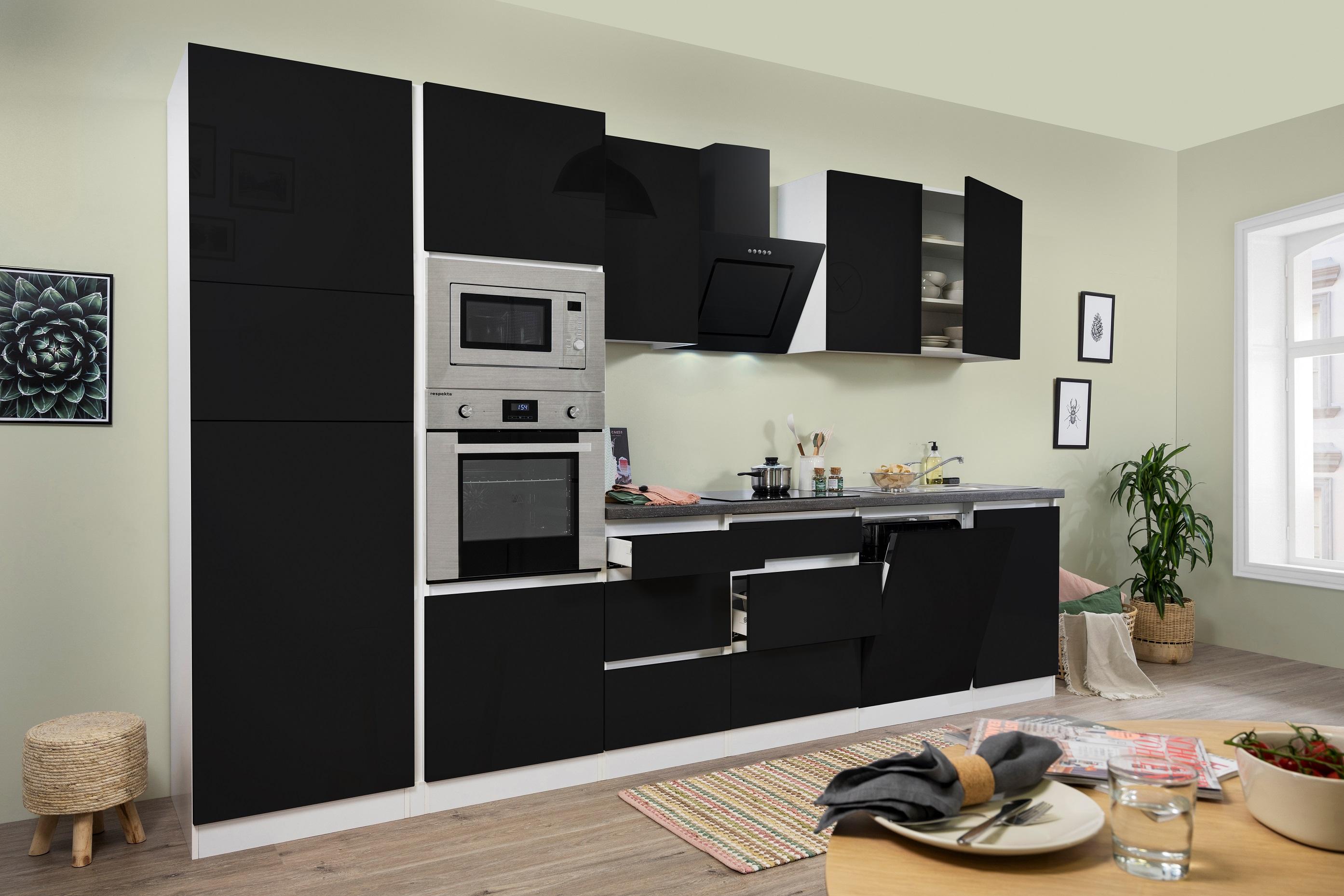 respekta Küche Küchenzeile Küchenblock grifflose Einbauküche 345 cm Weiß Schwarz