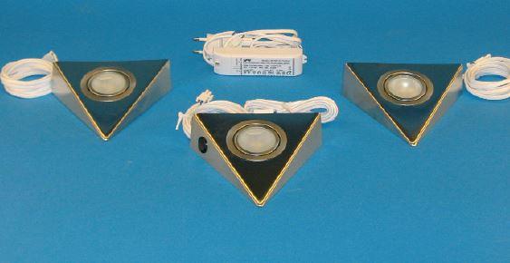 Dreiecksleuchten Eco-Set mit Masterschalter Halogen Unterschrank-Leuchte 3er Set