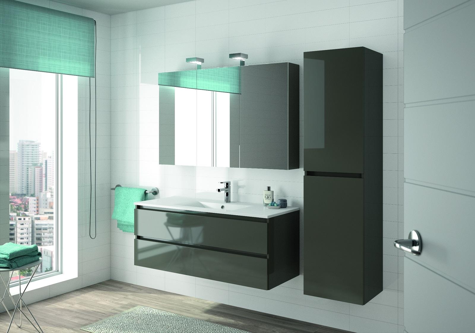 ALLIBERT Badmöbel-Set Badmöbel vormontiert grau Glanz Spiegel Waschtisch 120 cm