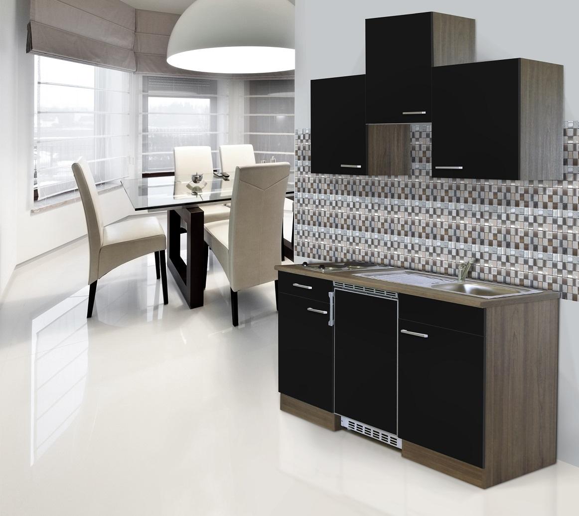 respekta Küche Küchenzeile Küchenblock Single Miniküche 150cm Eiche York schwarz
