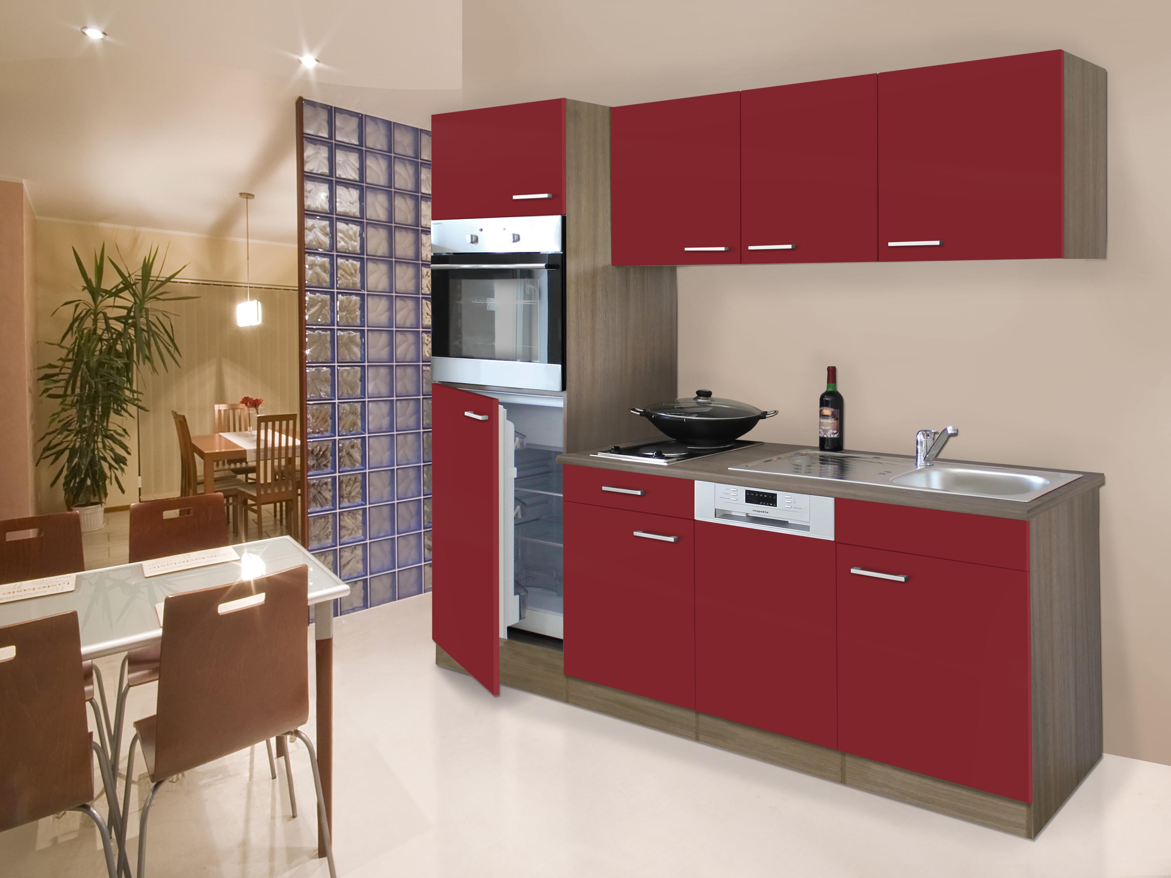 respekta Küche Küchenblock Küchenzeile Einbau Singleküche 205 cm Eiche York rot