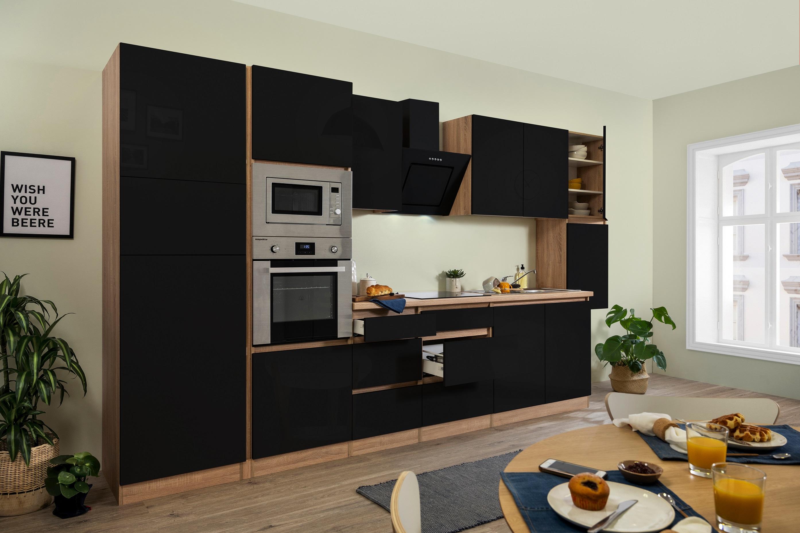respekta Küchenzeile Küchenblock grifflose Küche 385 cm Eiche Sonoma schwarz