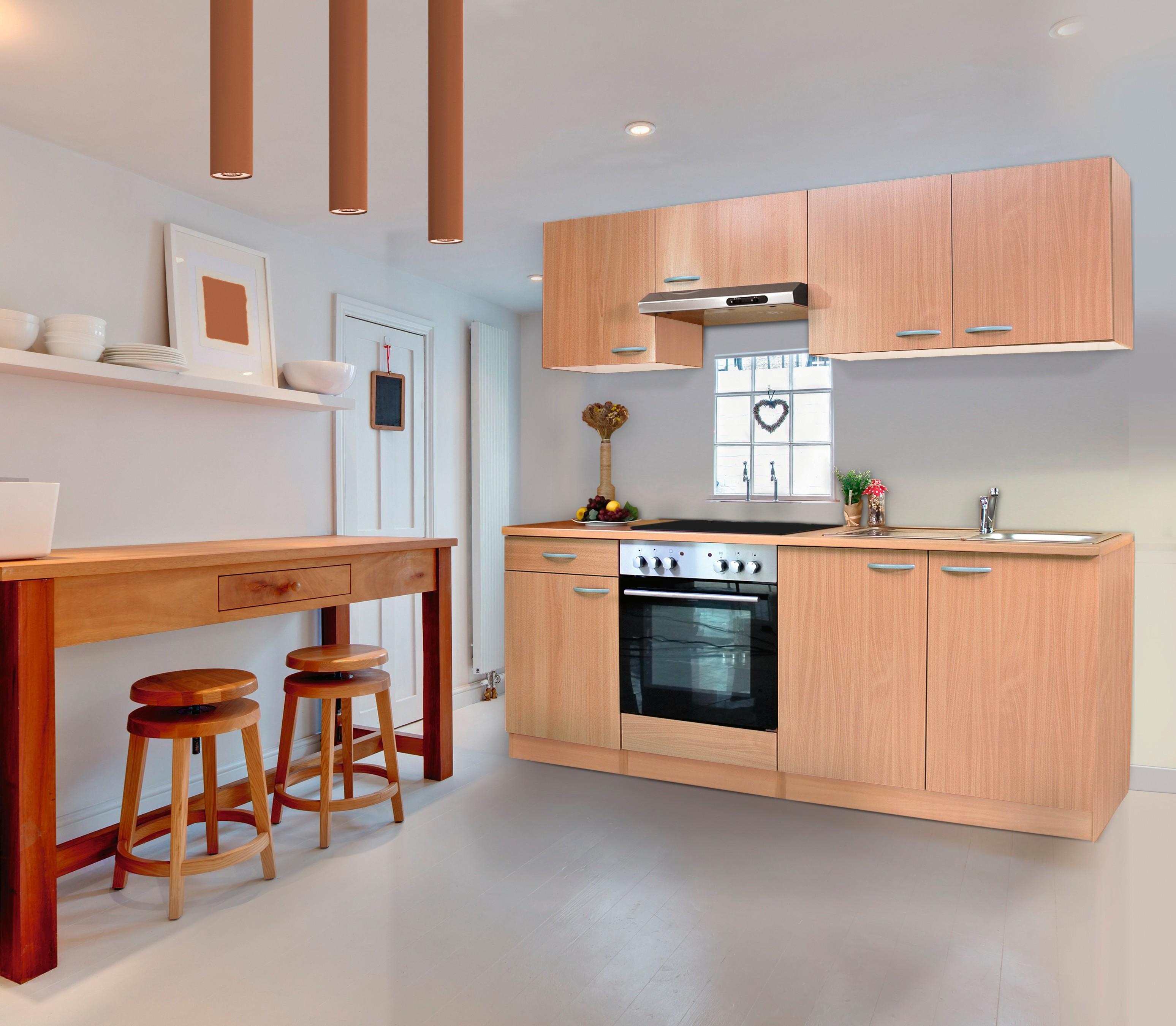 respekta Küche Küchenzeile Einbauküche Küchenblock Komplettküche 210 cm Buche
