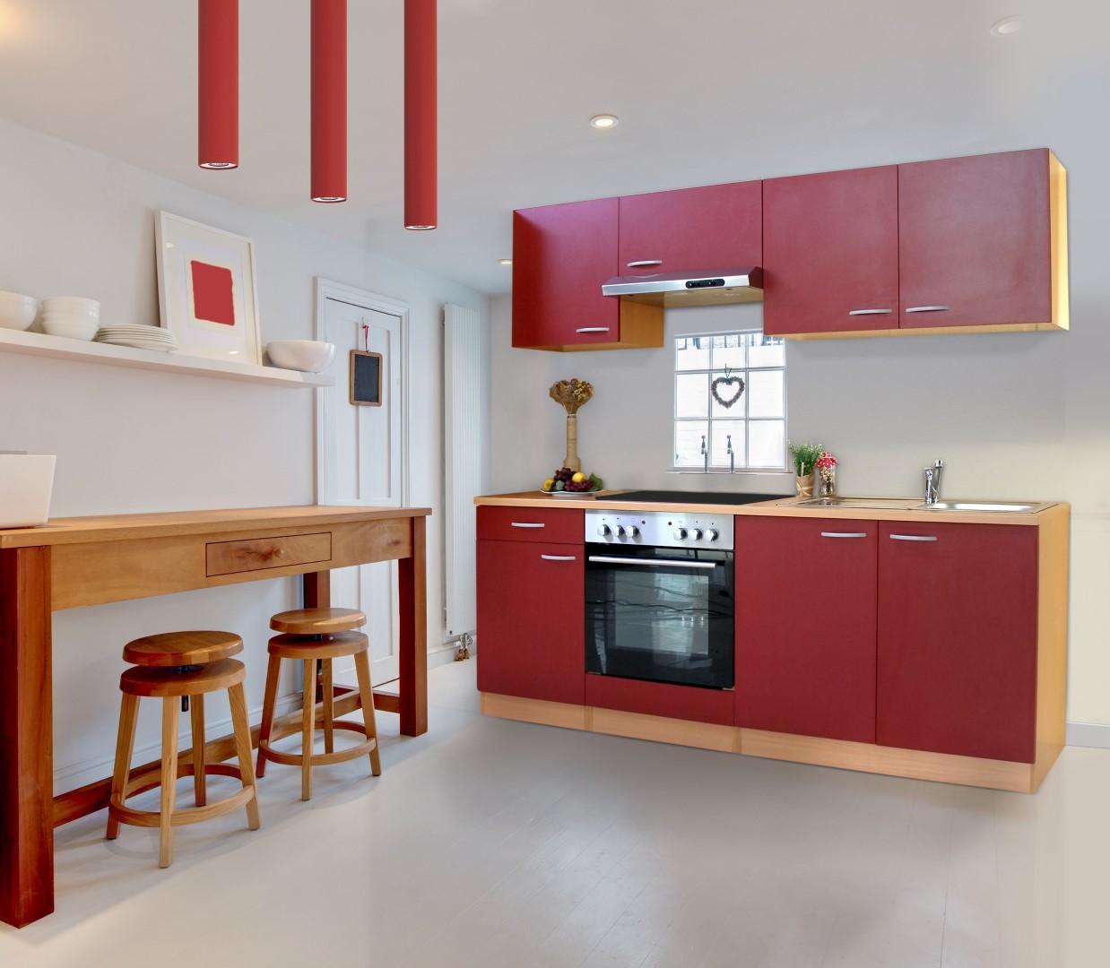 respekta Küche Küchenzeile Einbauküche Küchenblock Komplettküche 210cm Buche rot