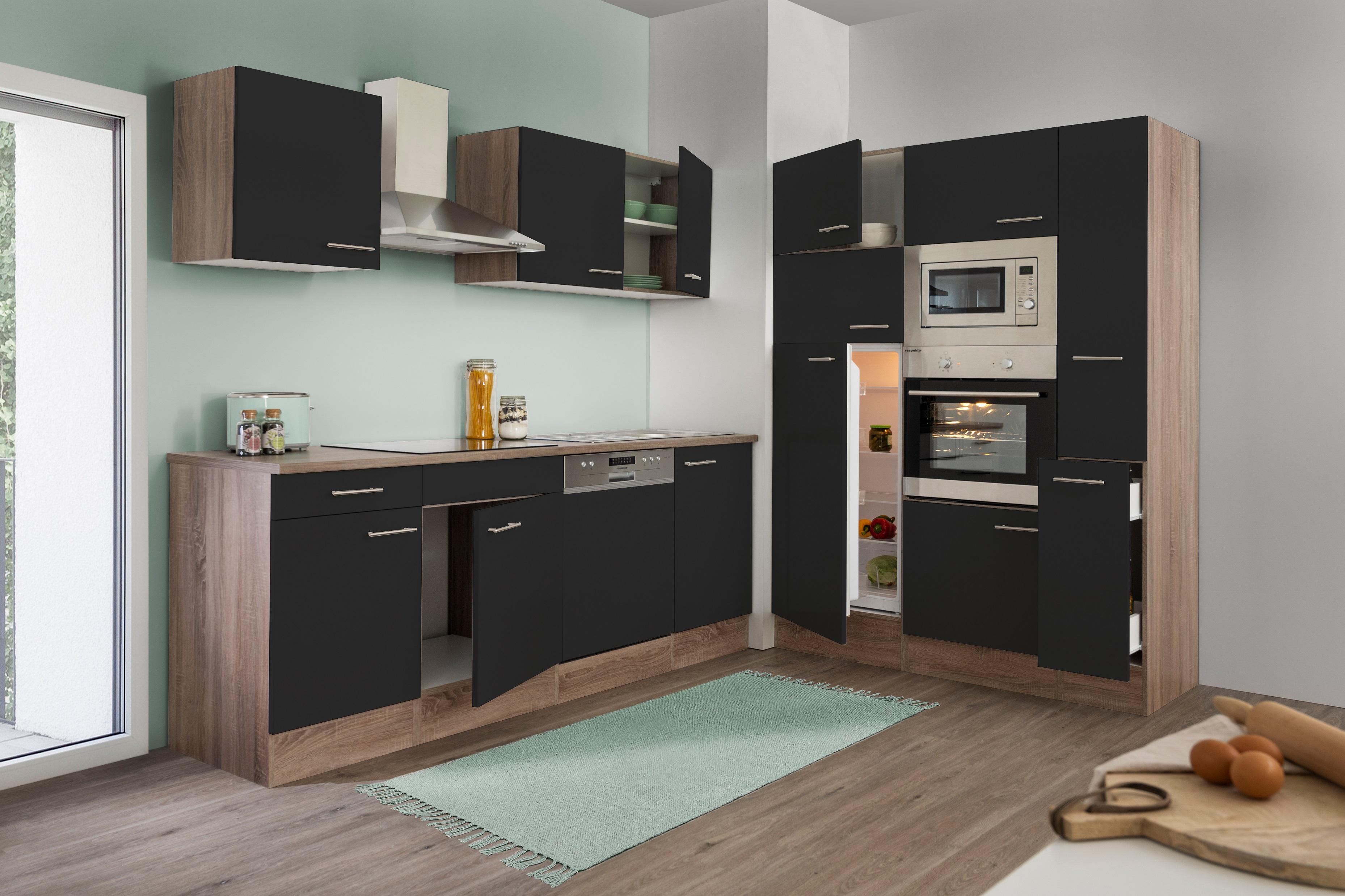 respekta Küche Küchenzeile Küchenblock Leerblock 370 cm Eiche York schwarz Glanz