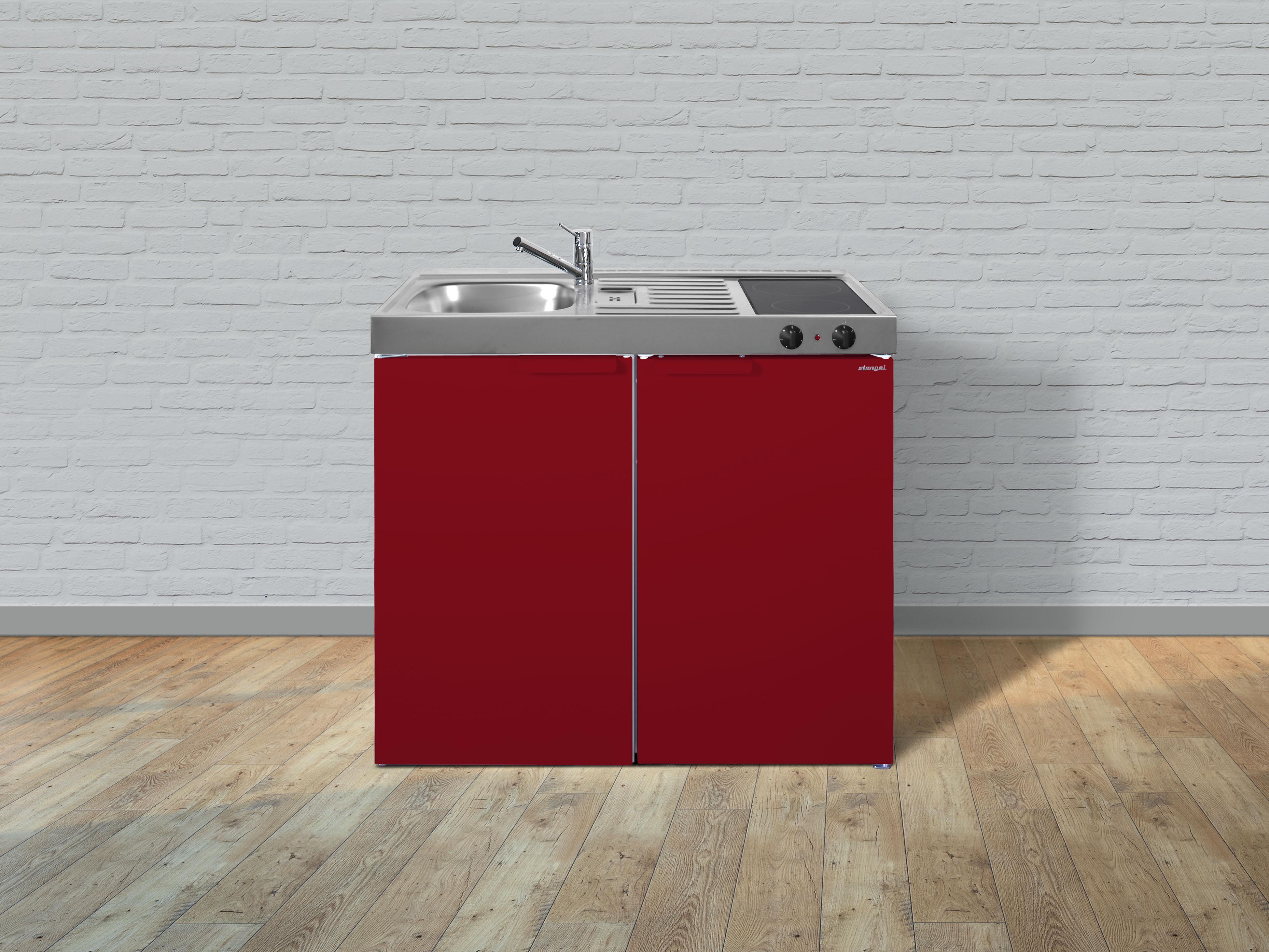 Küche Miniküche Küchenzeile Metallküche Singleküche Stengel 100 cm rot Glanz