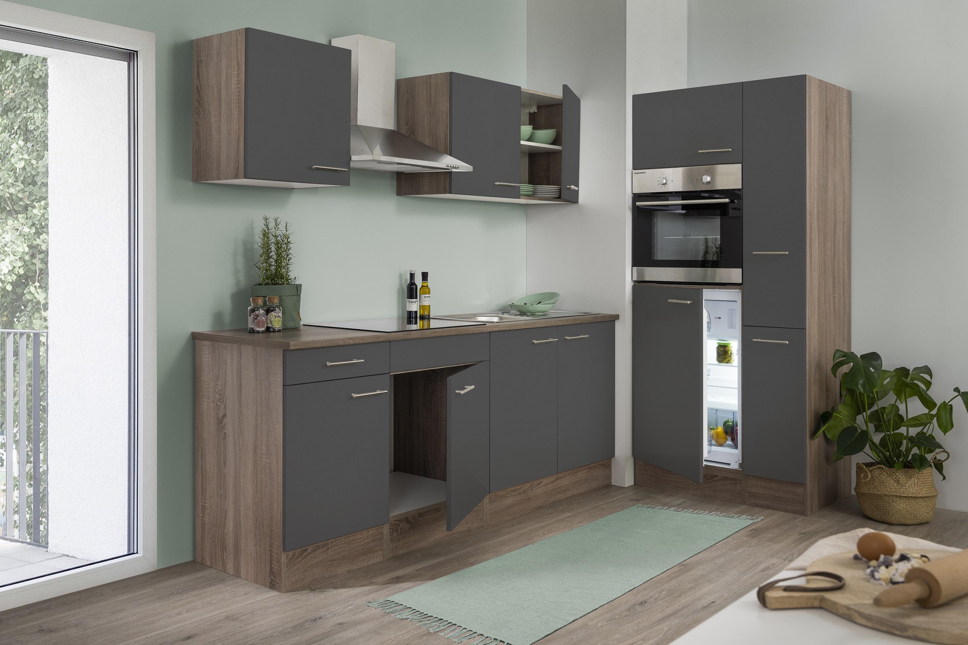 respekta Küchenzeile Küche Einbau Küchenblock Leerblock 300 cm Eiche York grau