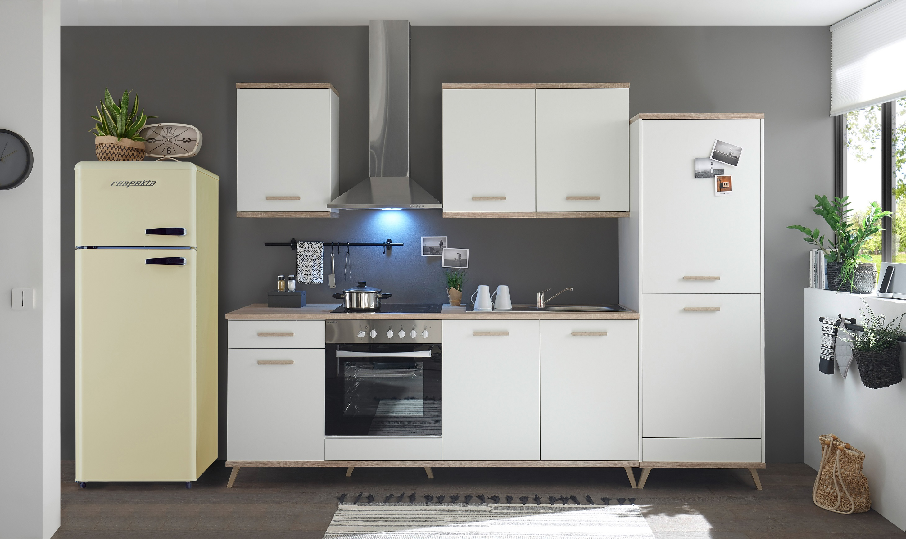 respekta Küche Küchenzeile Retro Küchenblock Einbauküche 330 cm weiß scandic