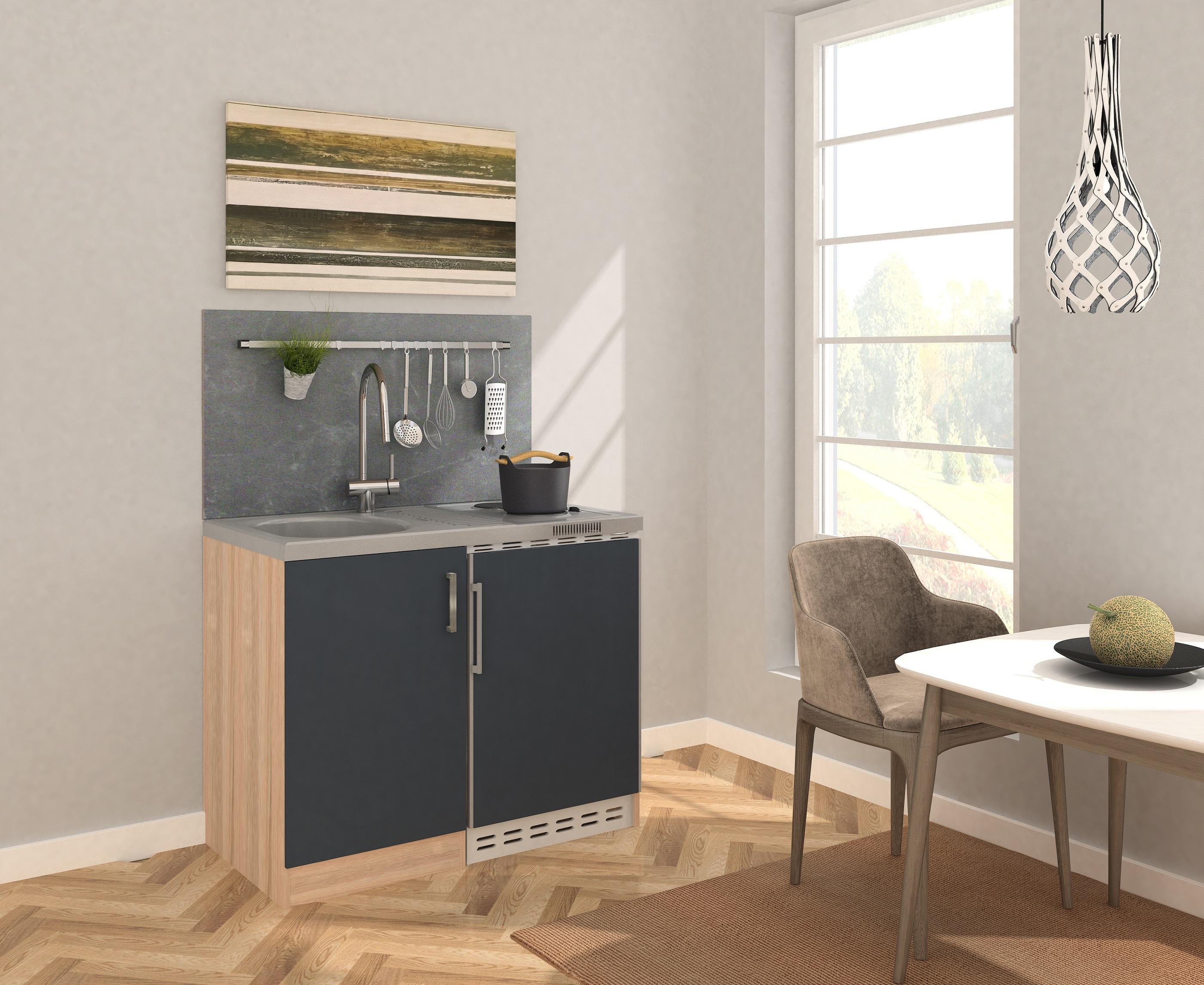 respekta Miniküche Küche Küchenzeile Küchenblock 100 cm Eiche Sägerau grau