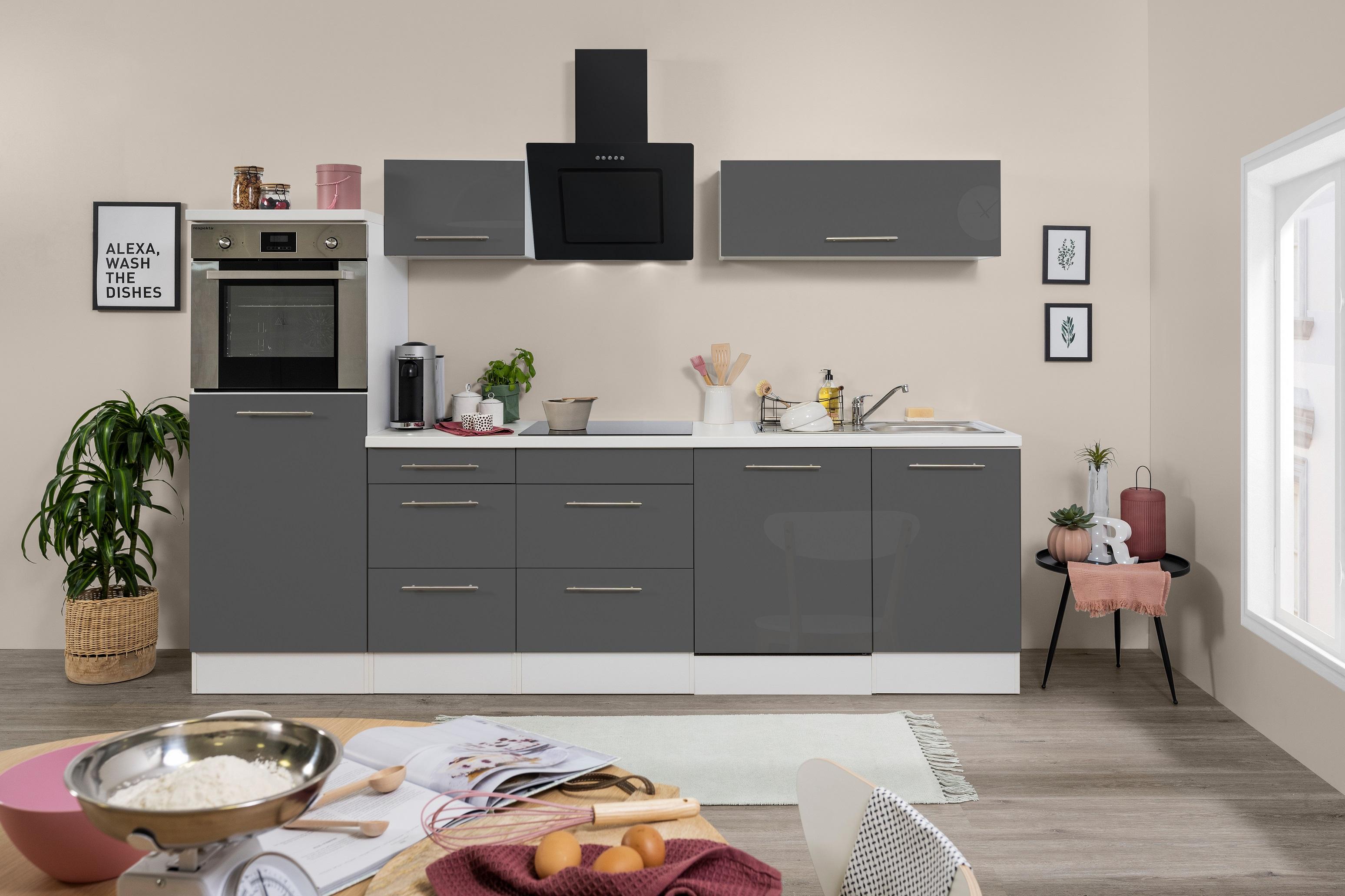 respekta Küchenzeile Küche Küchenblock Einbauküche 280cm Hochglanz weiß grau