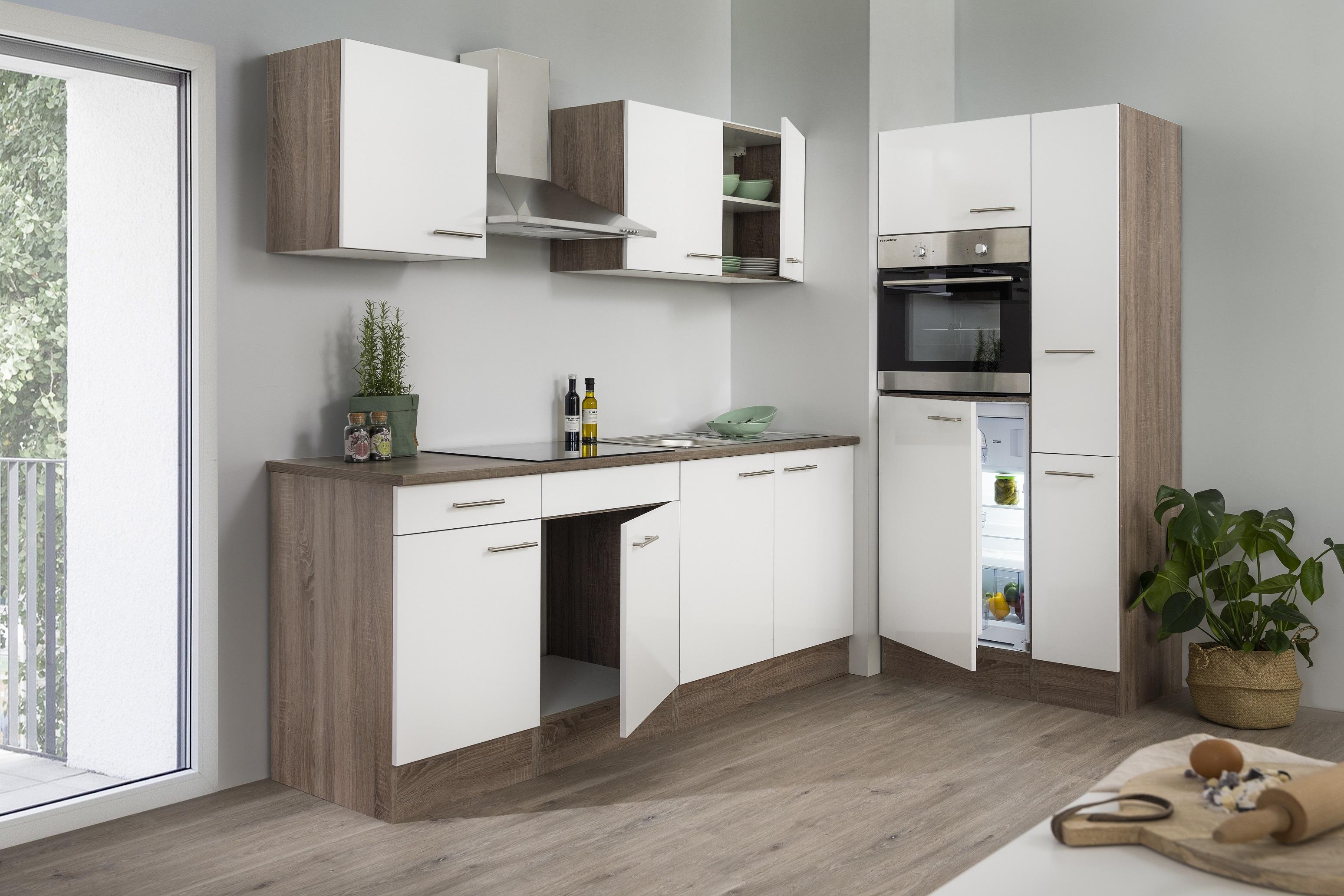 respekta Küchenzeile Küche Einbau Küchenblock Leerblock 300 cm Eiche York weiß