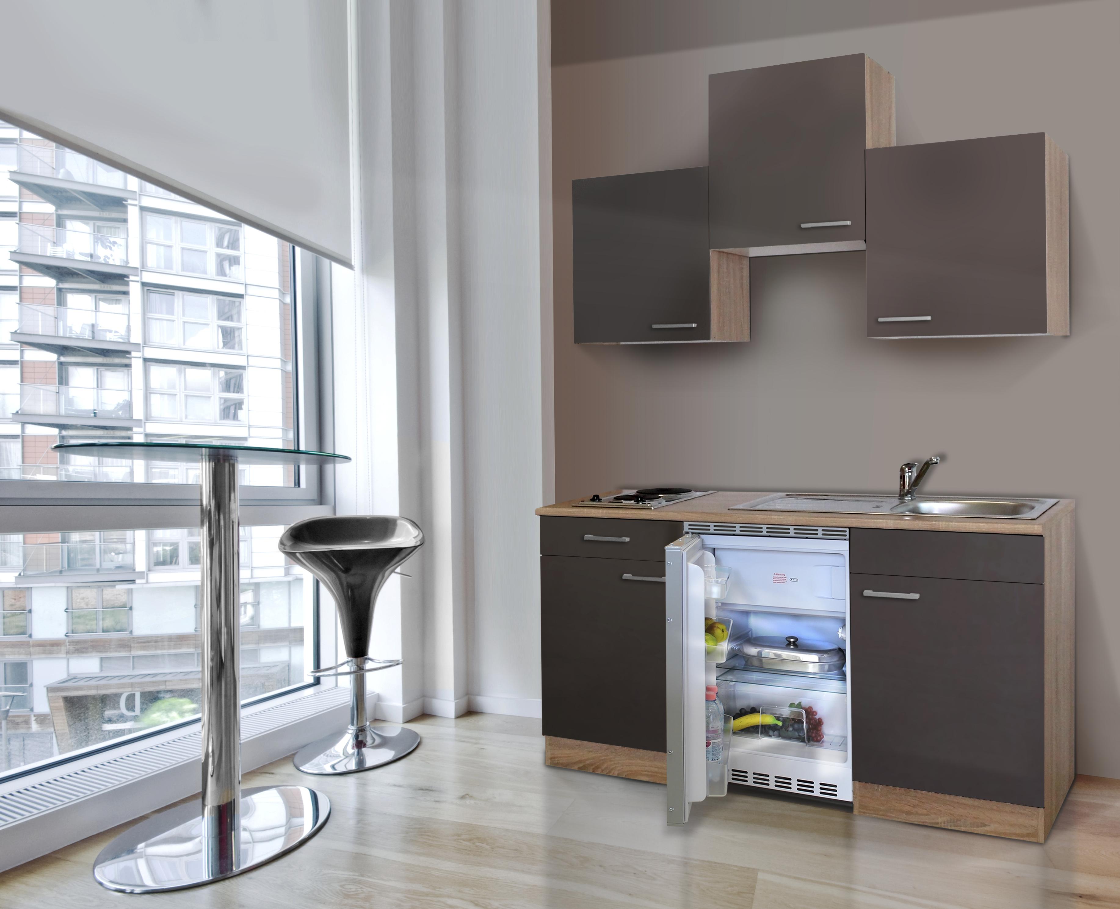 respekta Küche Singleküche Küchenzeile Küchenblock 150 cm Eiche Sägerau grau