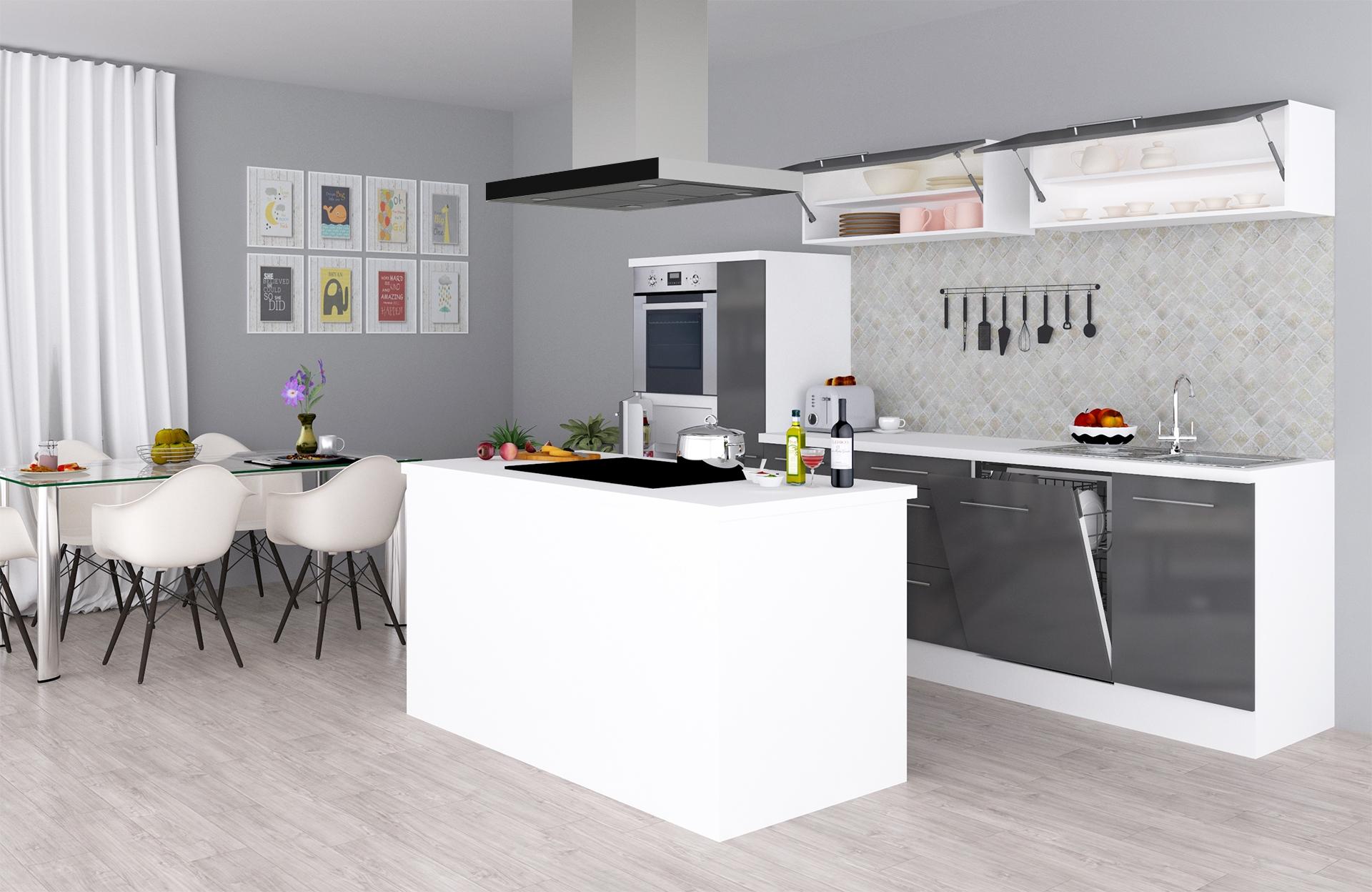 respekta Küchenzeile Inselküche Küche Hochglanz Küchenblock 310 cm weiß grau