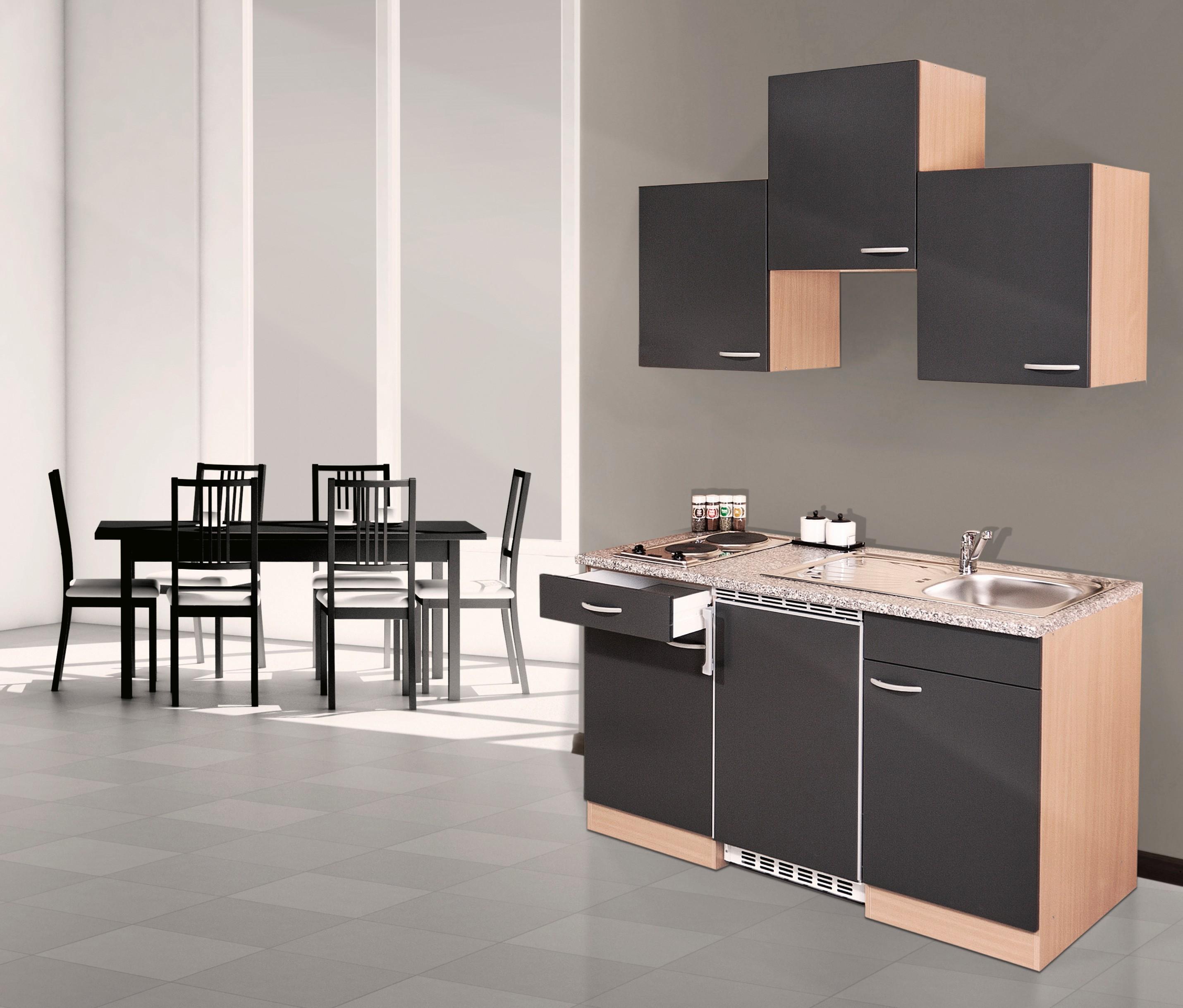 respekta Küche Miniküche Singleküche Küchenzeile Küchenblock 150 cm Buche grau