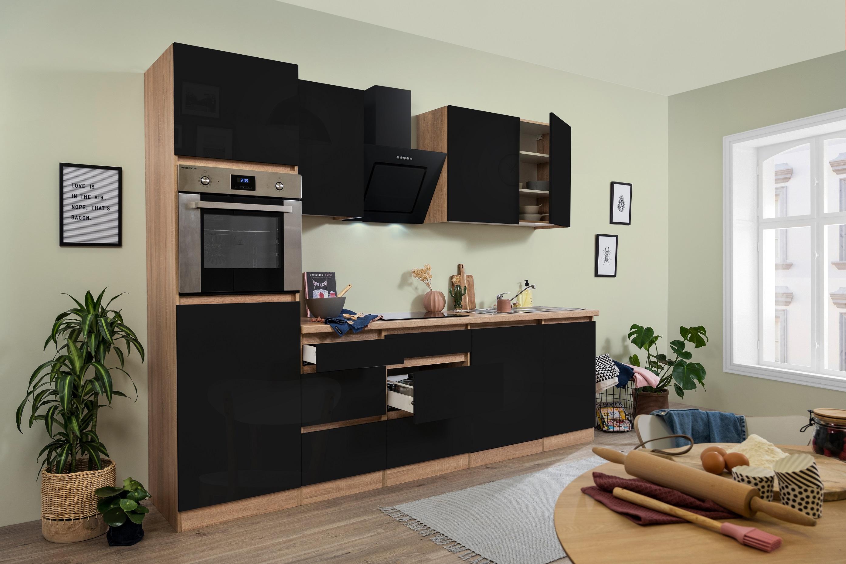 respekta Küchenzeile Küchenblock grifflose Küche 280 cm Eiche Sonoma schwarz