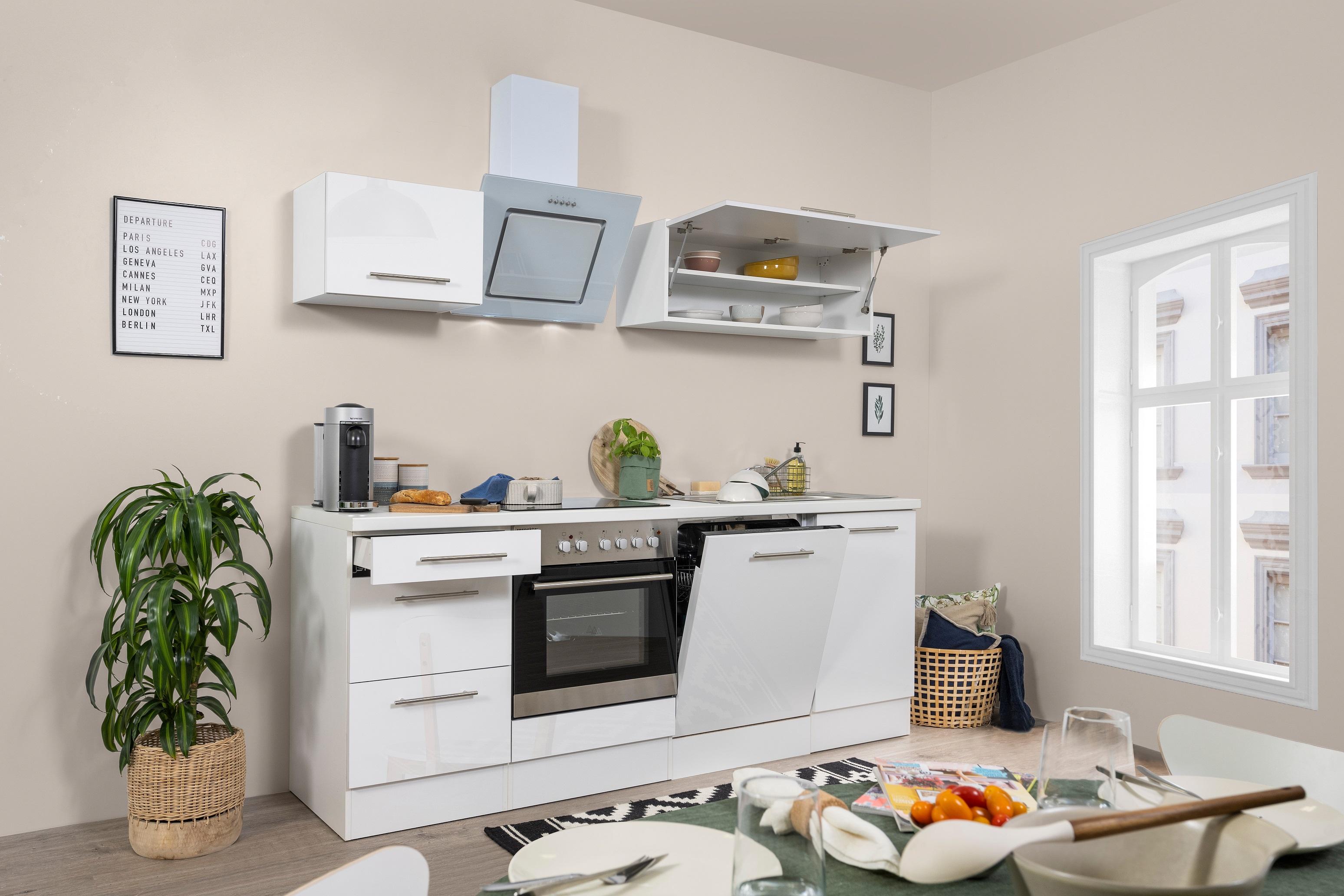 respekta Küchenzeile Küche Einbauküche Küchenblock Komplett Hochglanz 220cm weiß