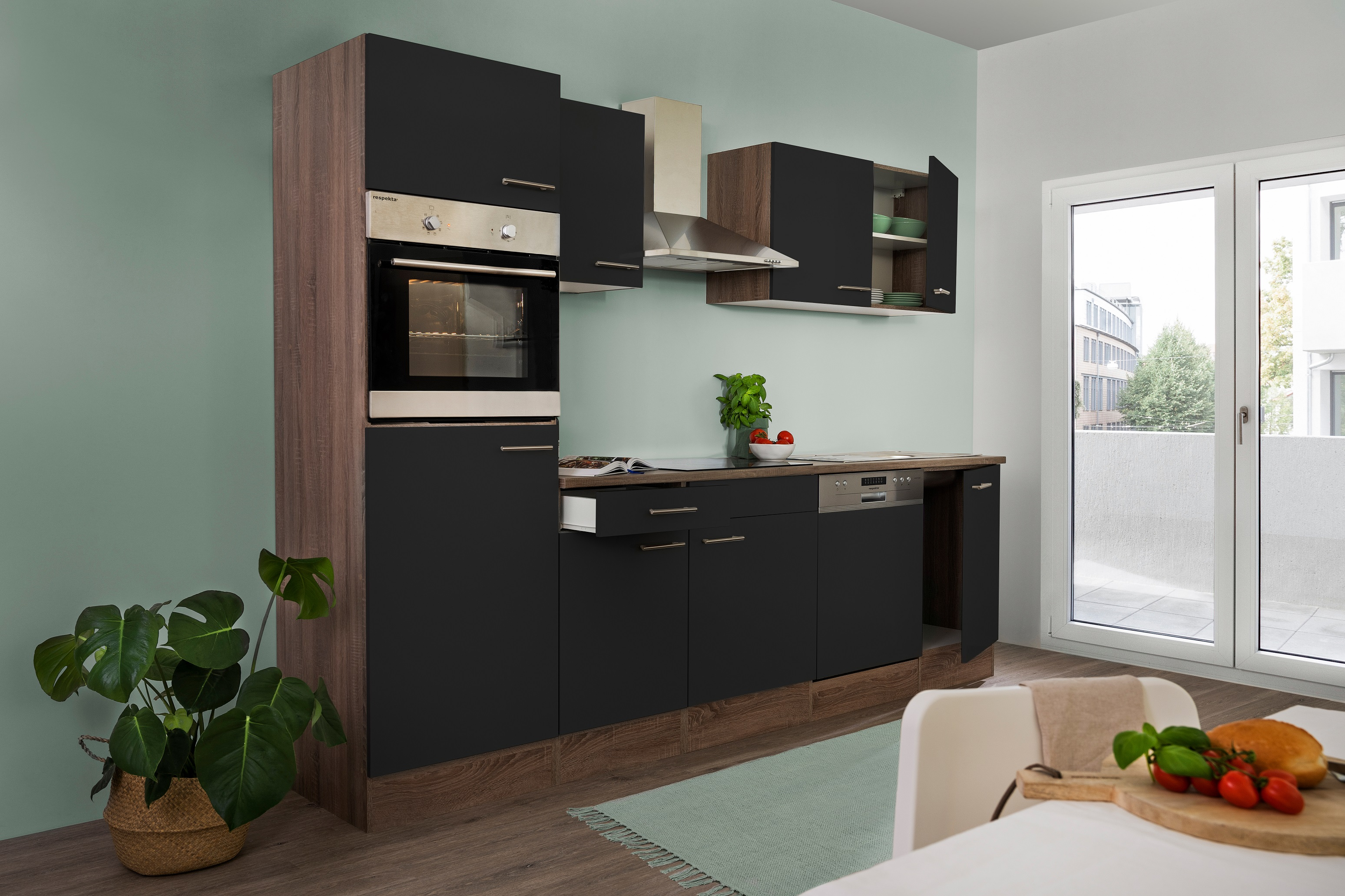 respekta Küchenzeile Küche Einbau Küchenblock Leerblock 280cm Eiche York schwarz