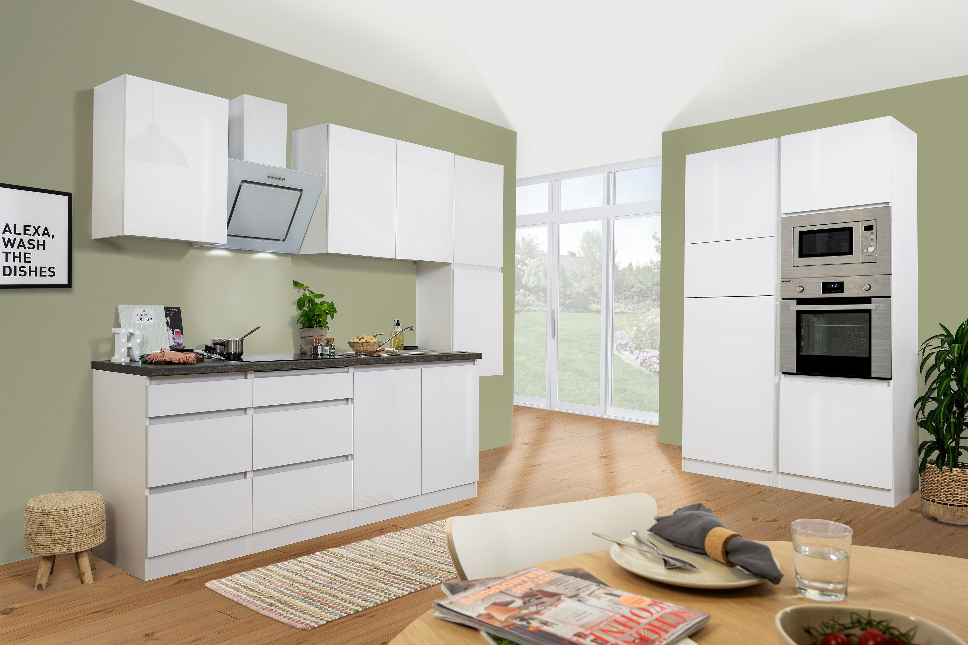 respekta Küche Küchenzeile Küchenblock grifflose Einbauküche 385 cm weiß Glanz