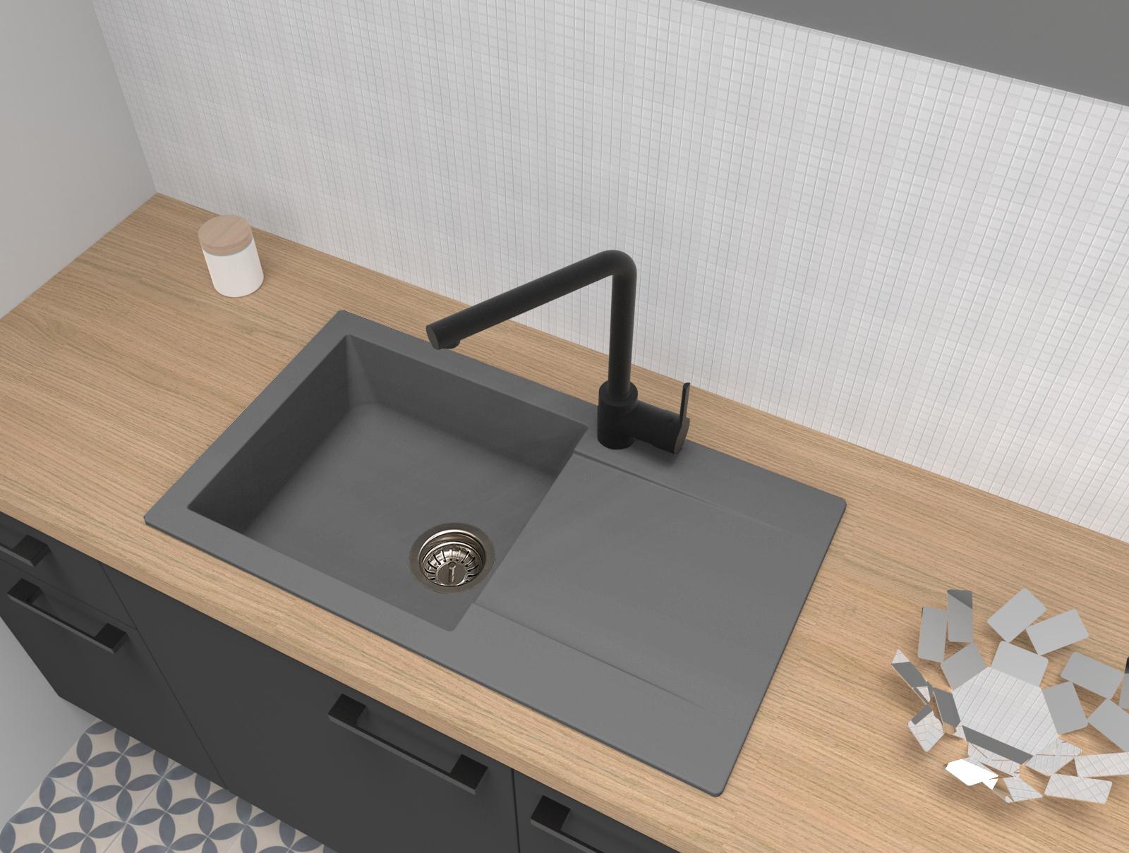 Spüle Küchenspüle Einbauspüle Granitspüle Mineralite 78 x 44 betongrau respekta