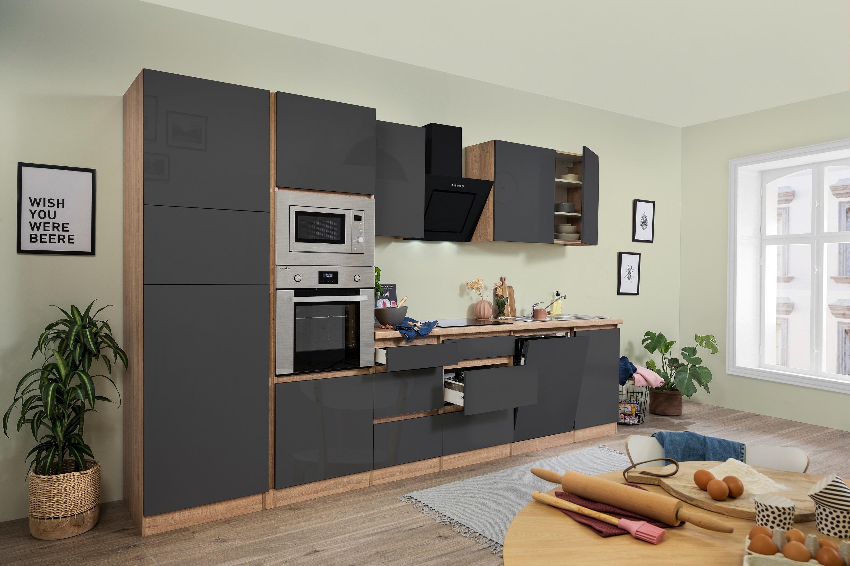 respekta Küchenzeile Küchenblock grifflose Einbau Küche 345 cm Eiche Sonoma grau