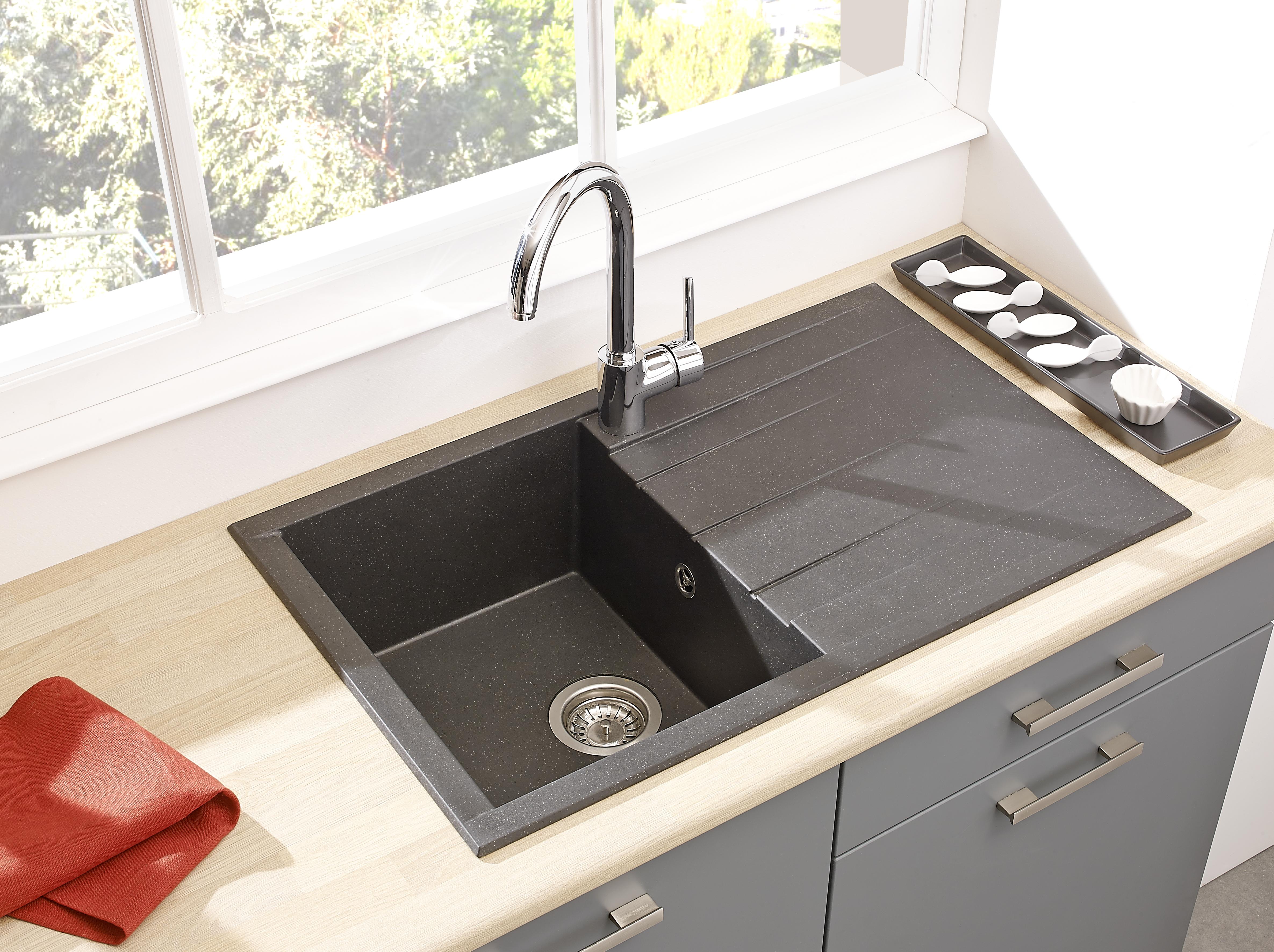 Spüle Küchenspüle Einbauspüle Granitspüle Mineralite 80 x 50 schwarz respekta