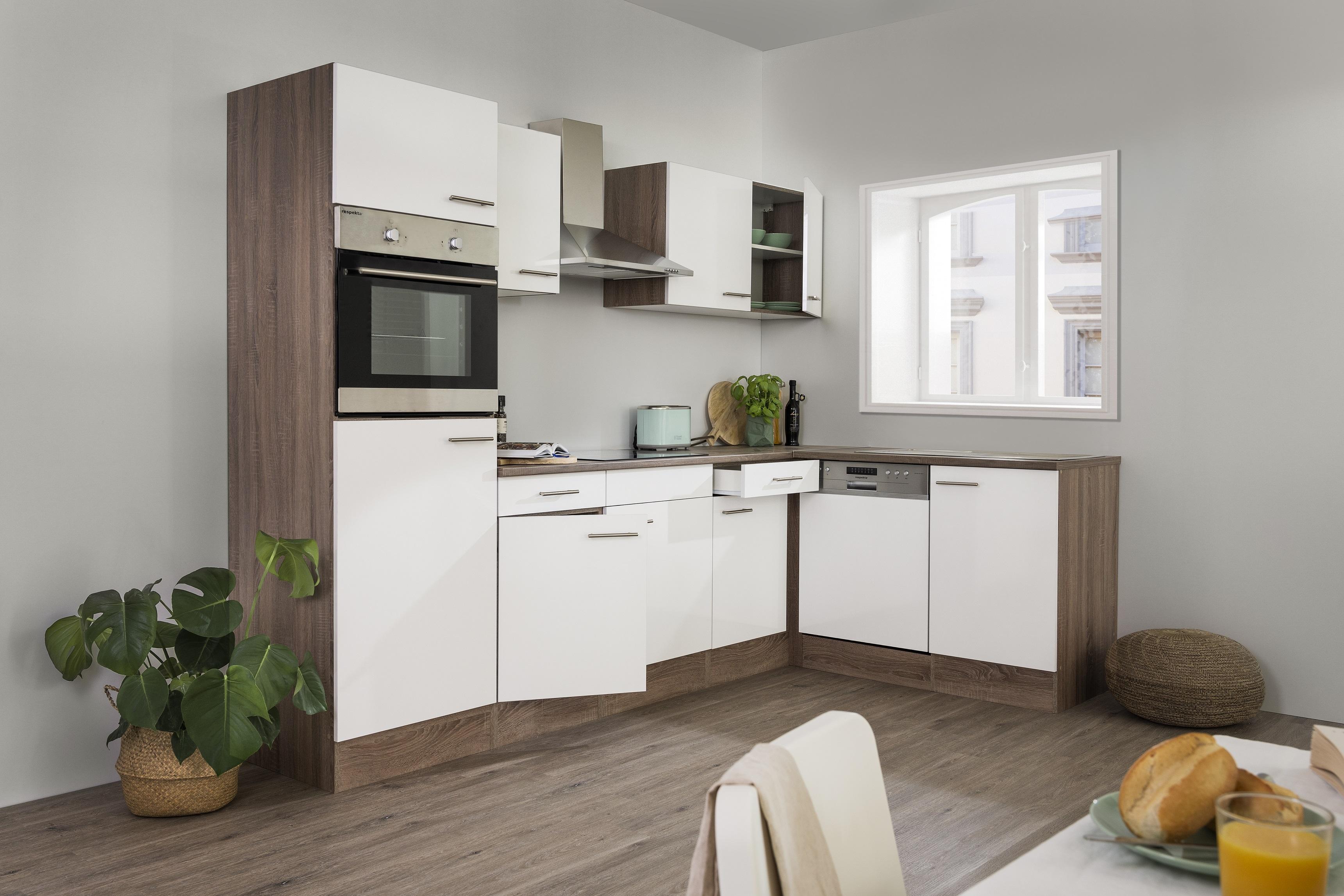 respekta Küchenzeile Küche Winkelküche L-Form Küche Eiche York weiß 280x172cm