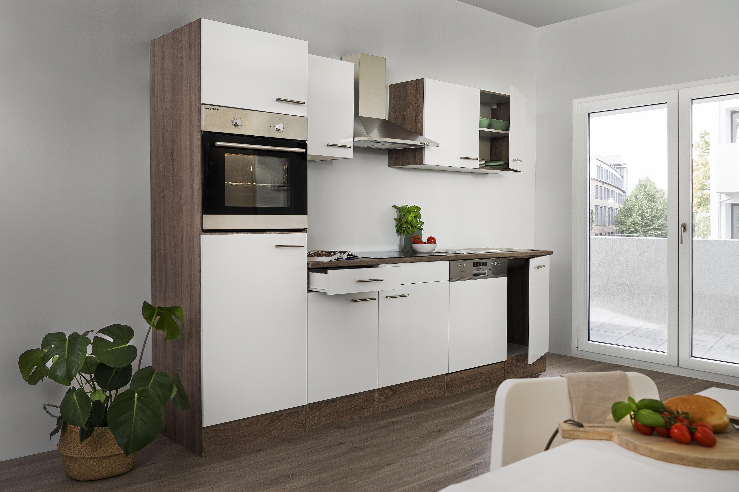 respekta Küchenzeile Küche Einbau Küchenblock Leerblock 280 cm Eiche York weiß
