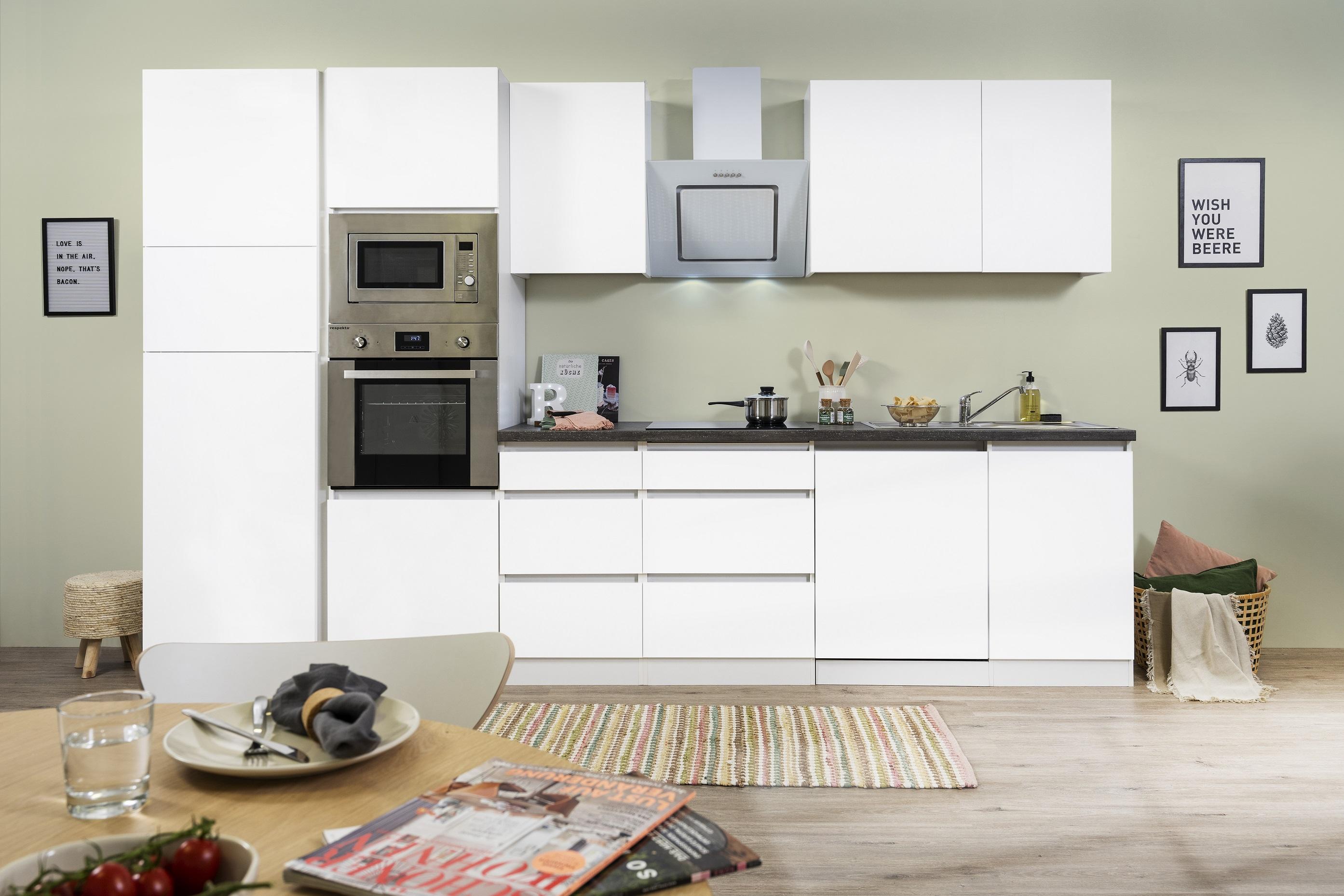 respekta Küche Küchenzeile Küchenblock grifflose Einbauküche 345 cm weiß Matt
