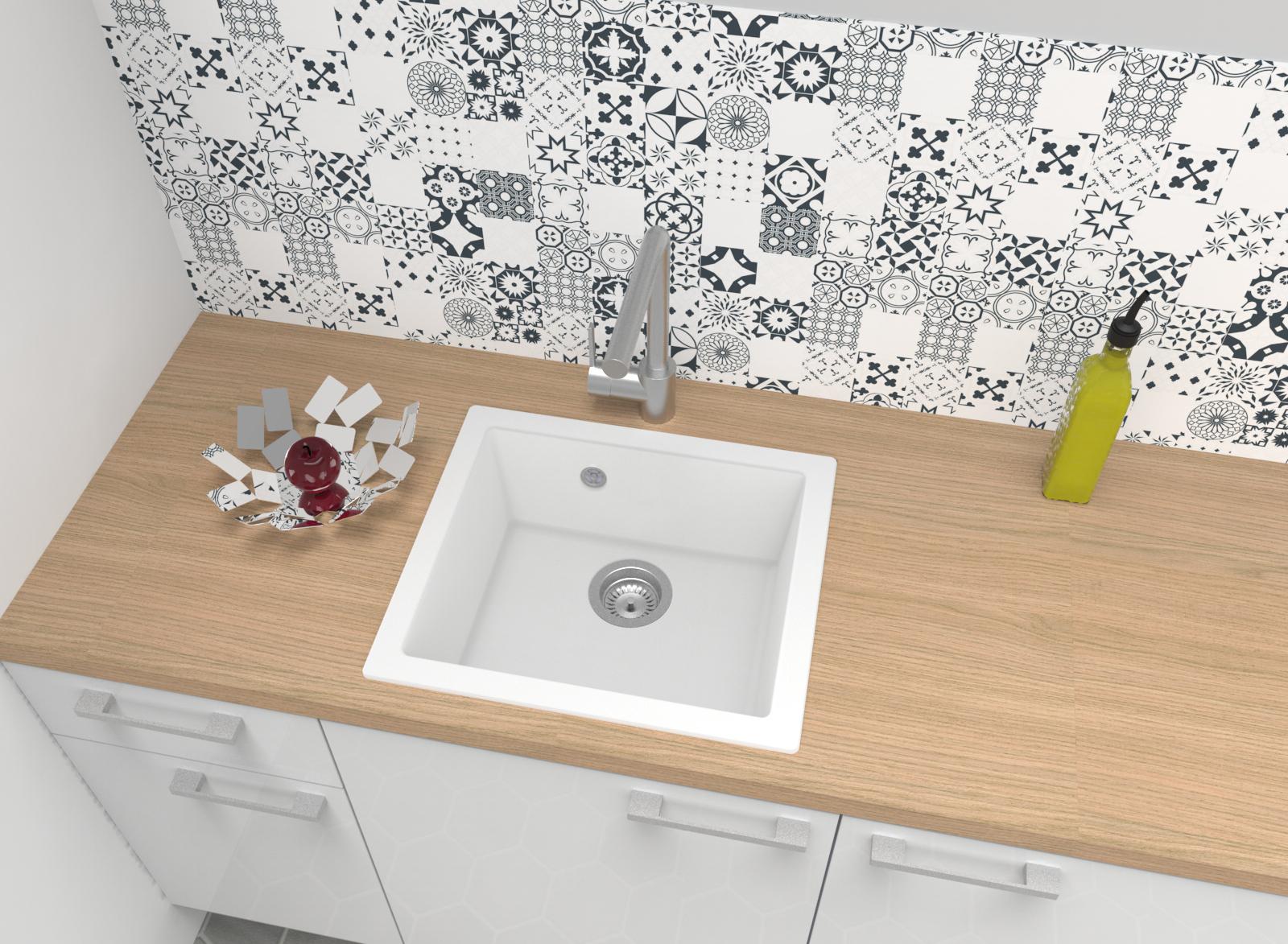 Spüle Küchenspüle Einbauspüle Granit Spülbecken Mineralite 50 x 44 weiß respekta