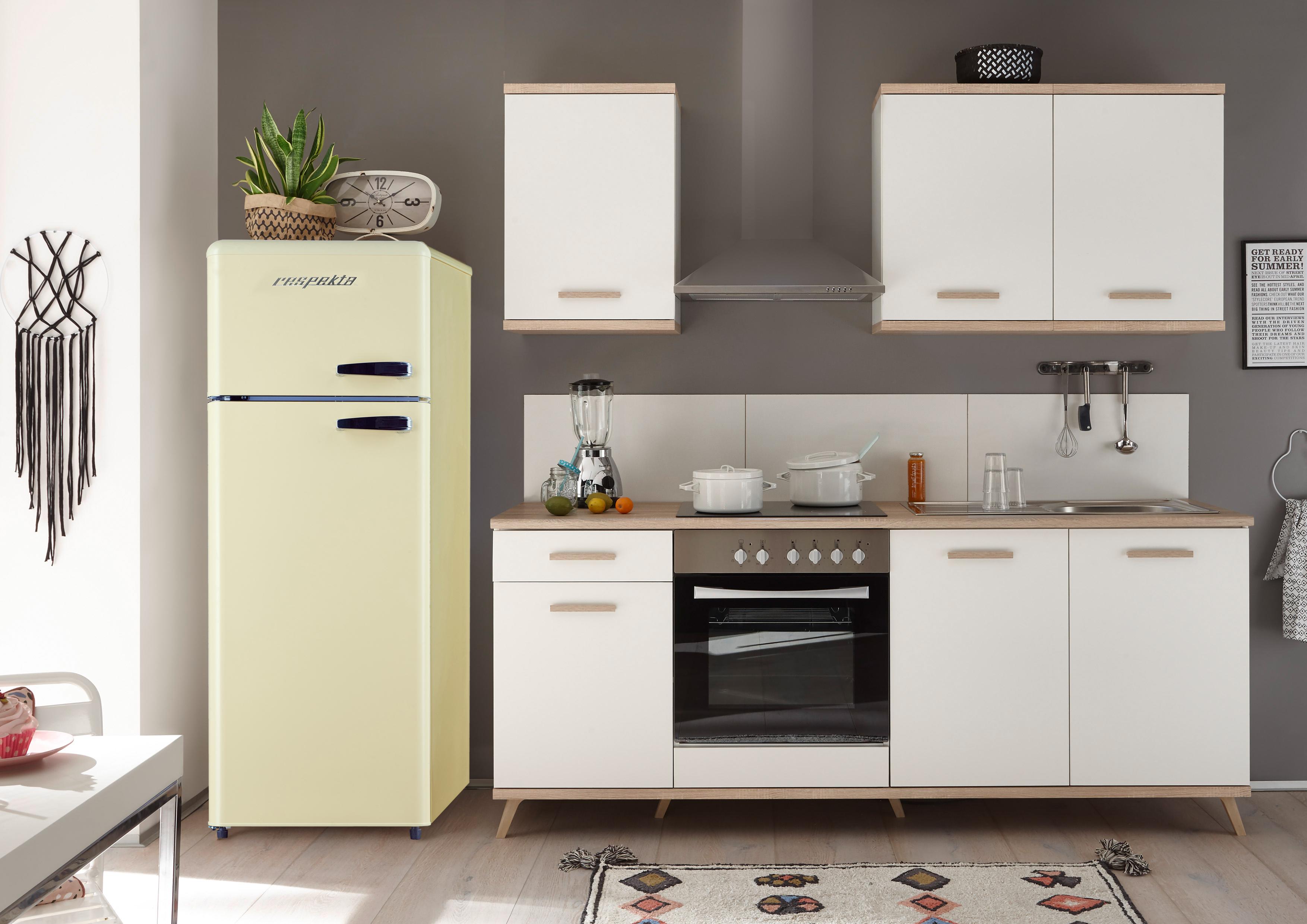 respekta Küche Küchenzeile Retro Küchenblock Einbauküche 265 cm weiß scandic