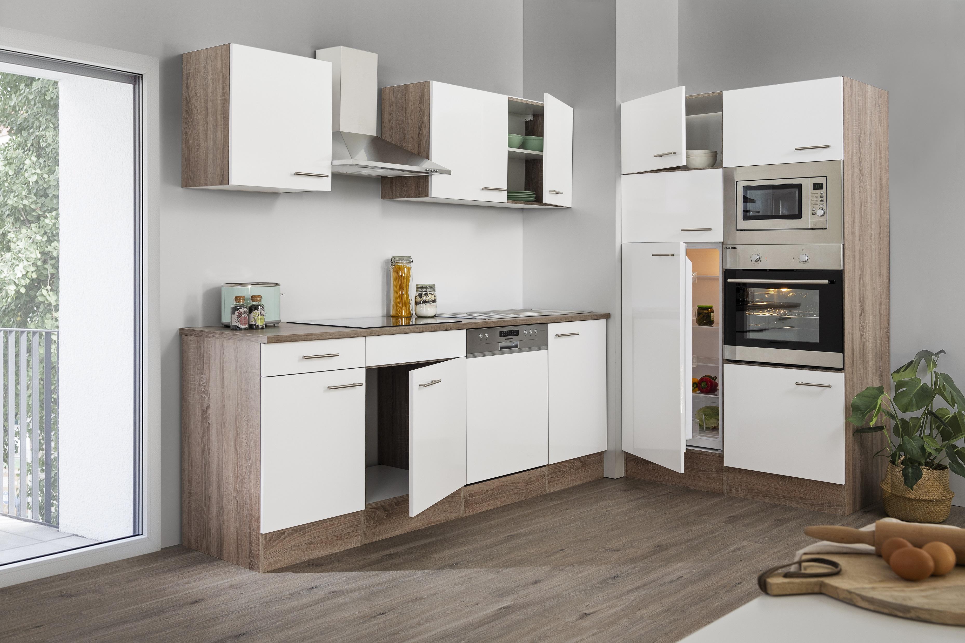respekta Küche Küchenzeile Küchenblock Leerblock 340 cm Eiche York weiss Glanz