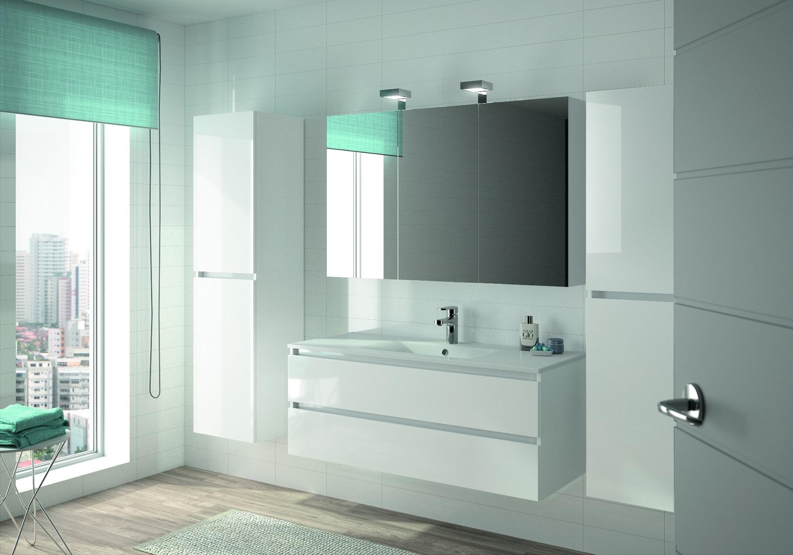 ALLIBERT Badmöbel-Set Badmöbel vormontiert weiß Glanz Spiegel Waschtisch 120 cm