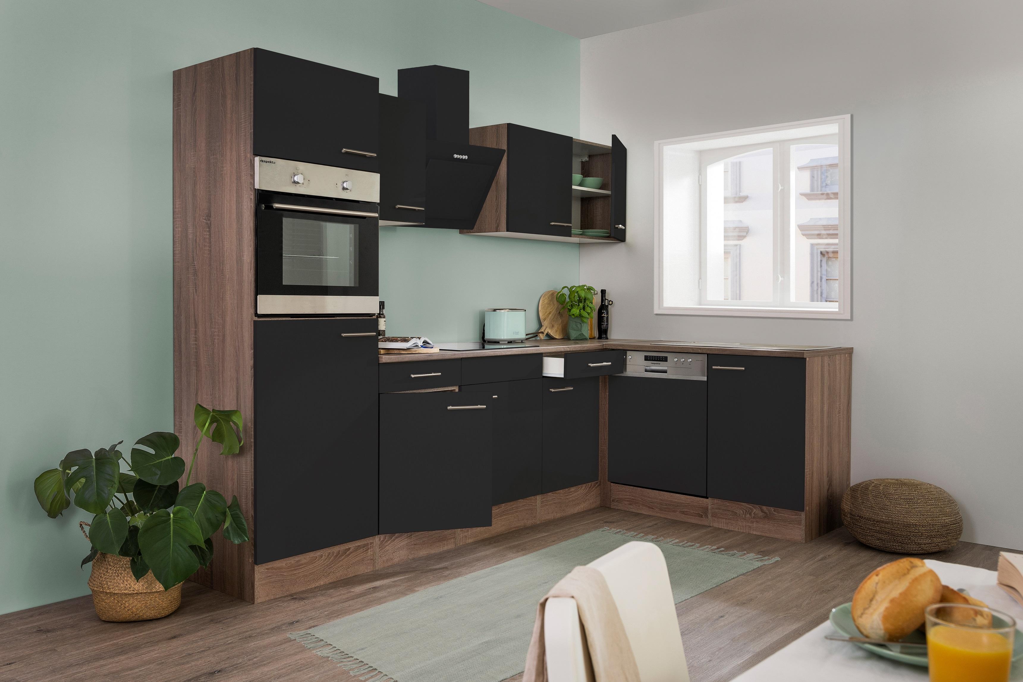 respekta Küchenzeile Küche Winkelküche L-Form Küche Eiche York schwarz 280x172cm