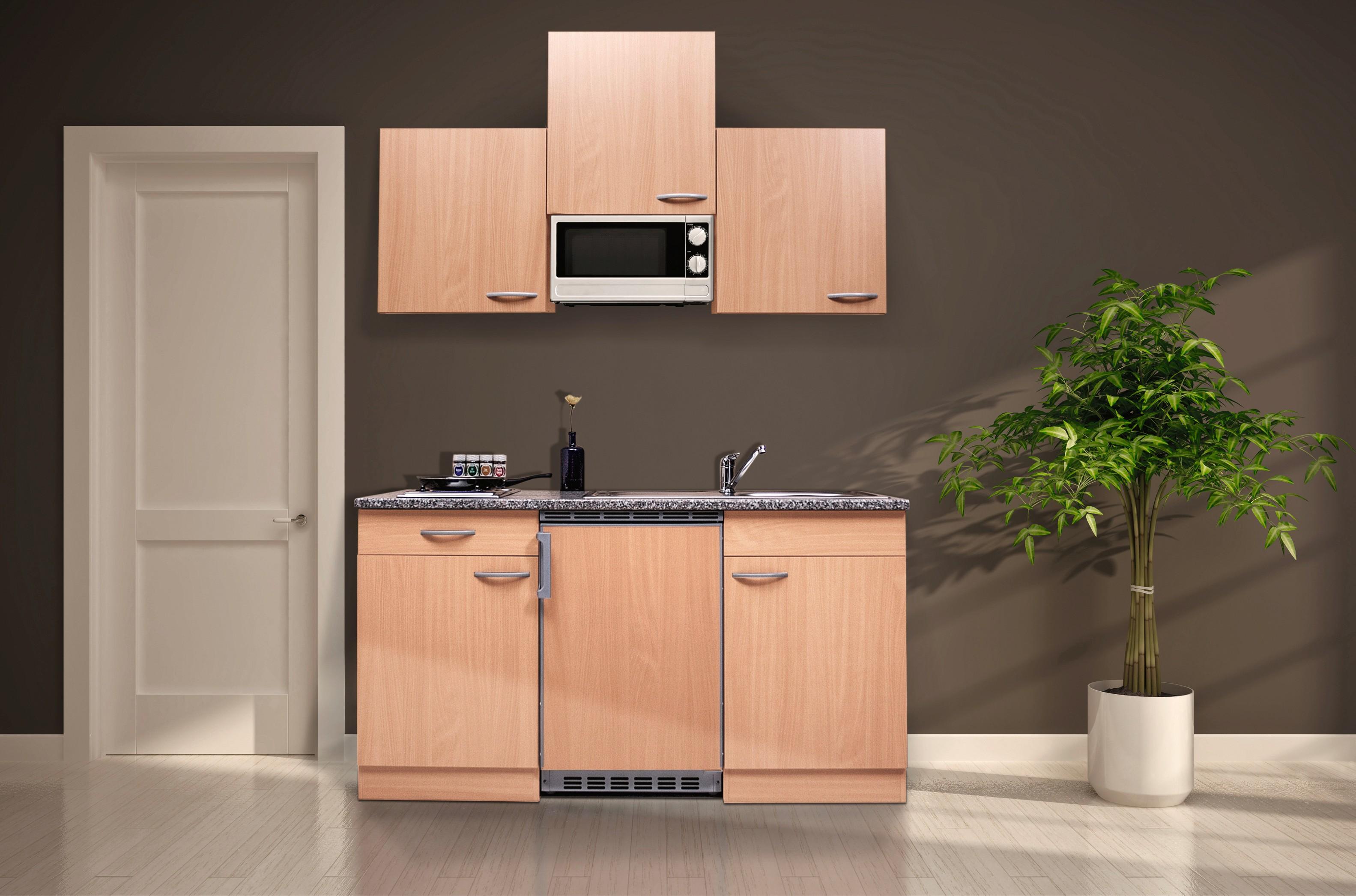 respekta Miniküche Küche Singleküche Küchenzeile Einbau Küchenblock 150 cm Buche
