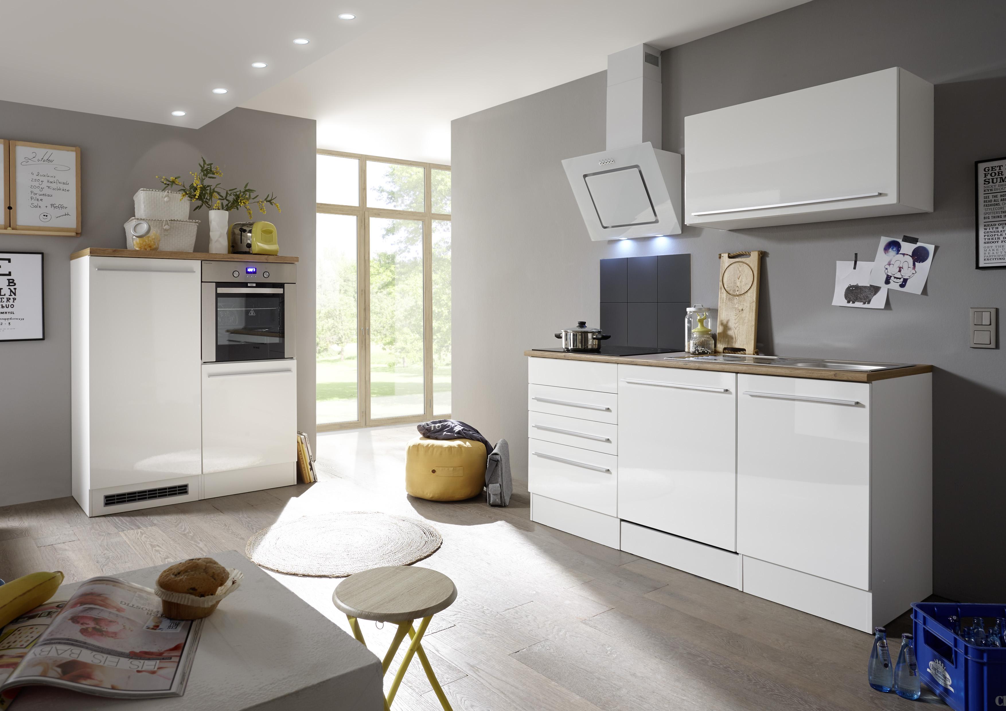 respekta Küche Küchenzeile Küchenblock Einbauküche Komplettküche weiß 290 cm