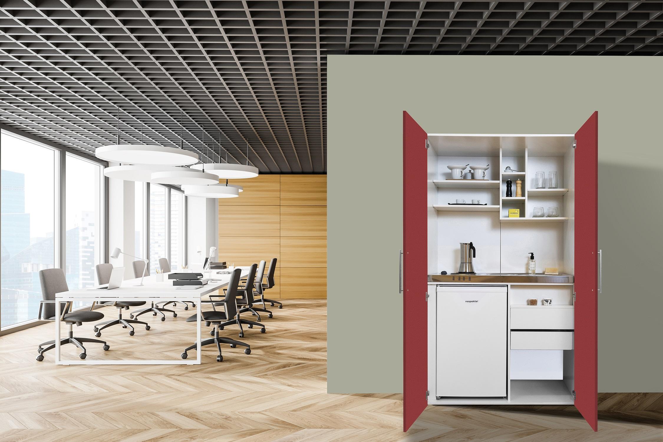 respekta Schrankküche Küche Miniküche Küchenzeile Single Küchenblock weiß rot