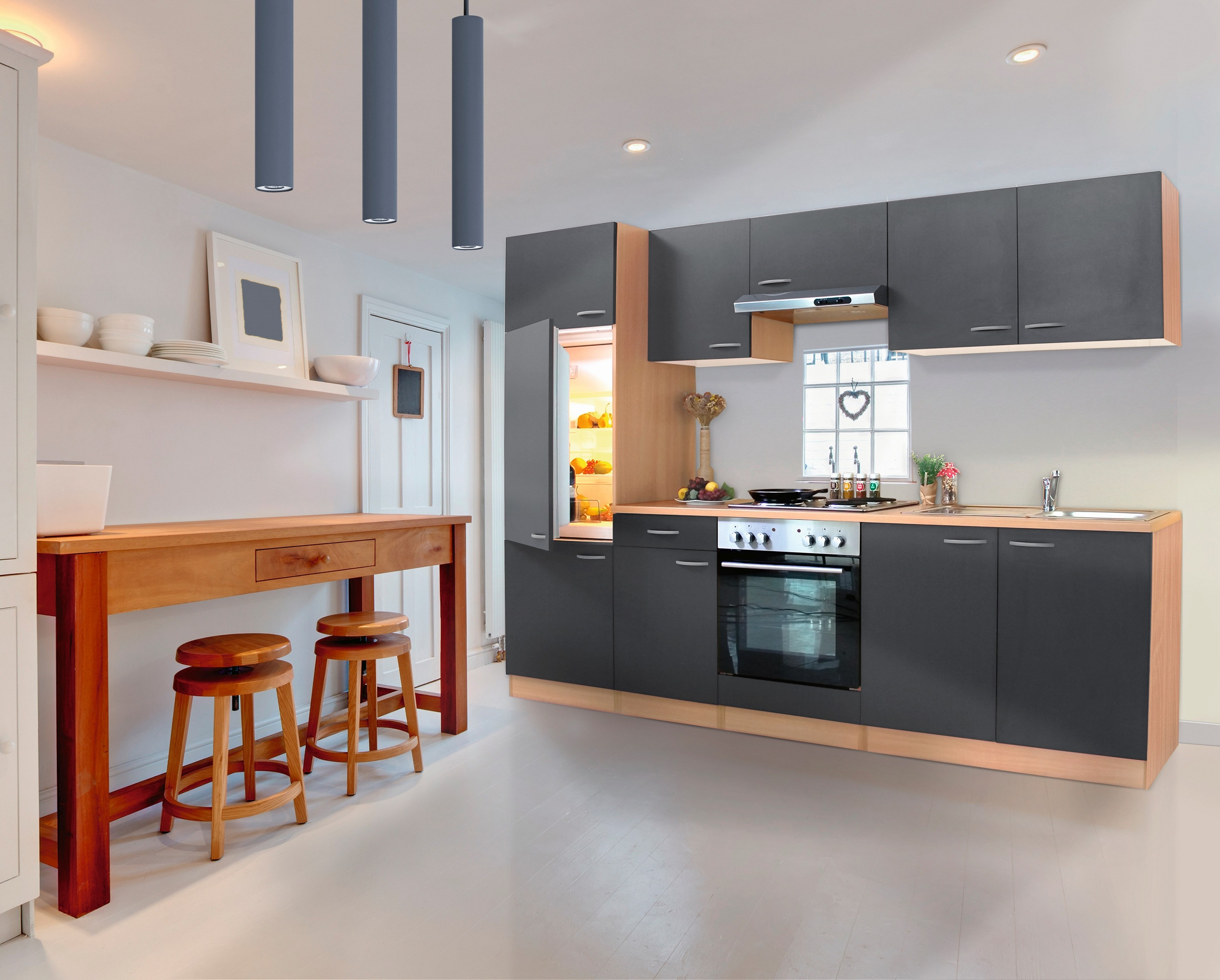 respekta Küche Küchenzeile Küchenblock Einbauküche Komplett 270 cm Buche grau