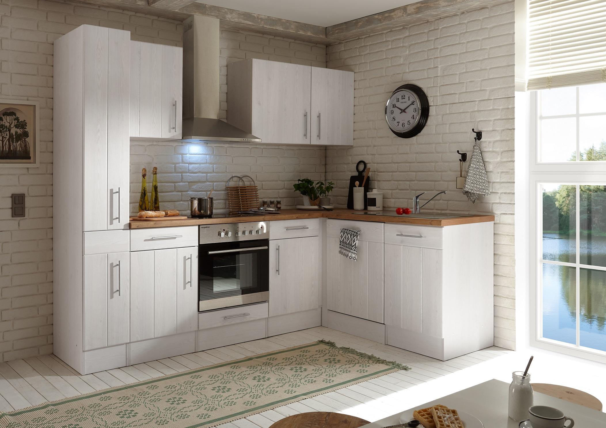 Winkelküche Landhaus Küchenzeile Einbauküche L-Form Küche 250 x 172 cm respekta