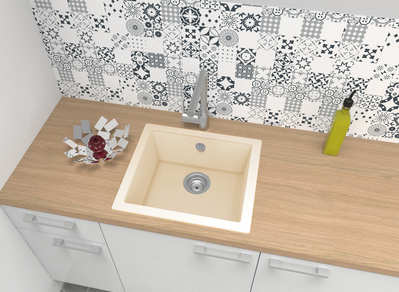 Spüle Küchenspüle Einbauspüle Spülbecken Granit Mineralite 50x44 beige respekta