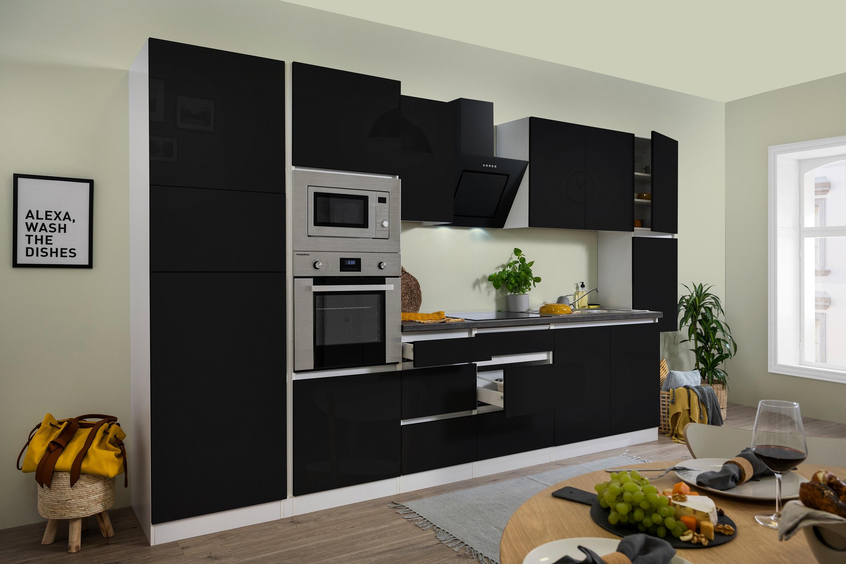 respekta Küche Küchenzeile Küchenblock grifflose Einbauküche 385 cm weiß schwarz