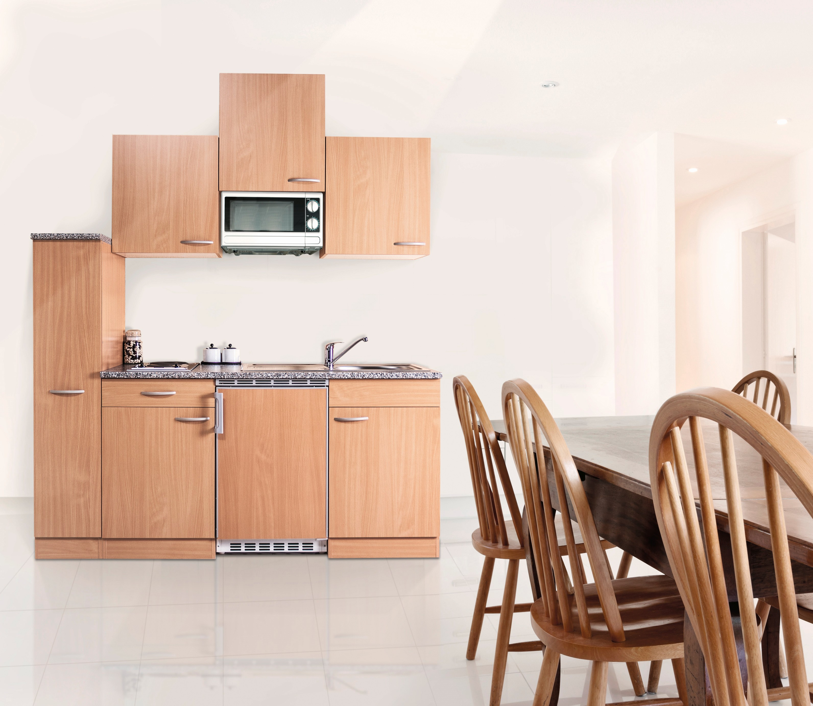 respekta Küche Küchenzeile Singleküche Küchenblock Einbau Miniküche 180 cm Buche
