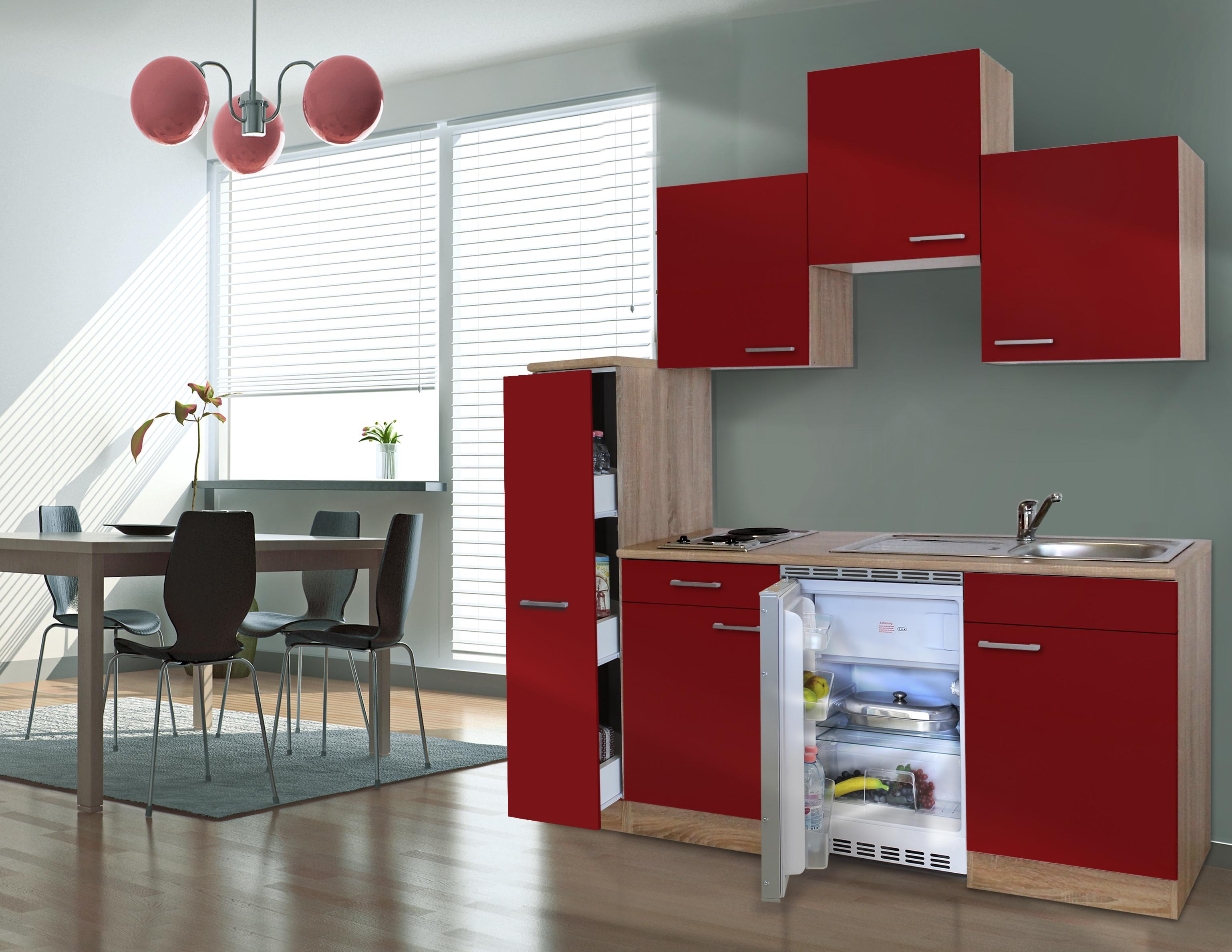 respekta Küche Singleküche Küchenzeile Küchenblock 180 cm Eiche Sägerau rot