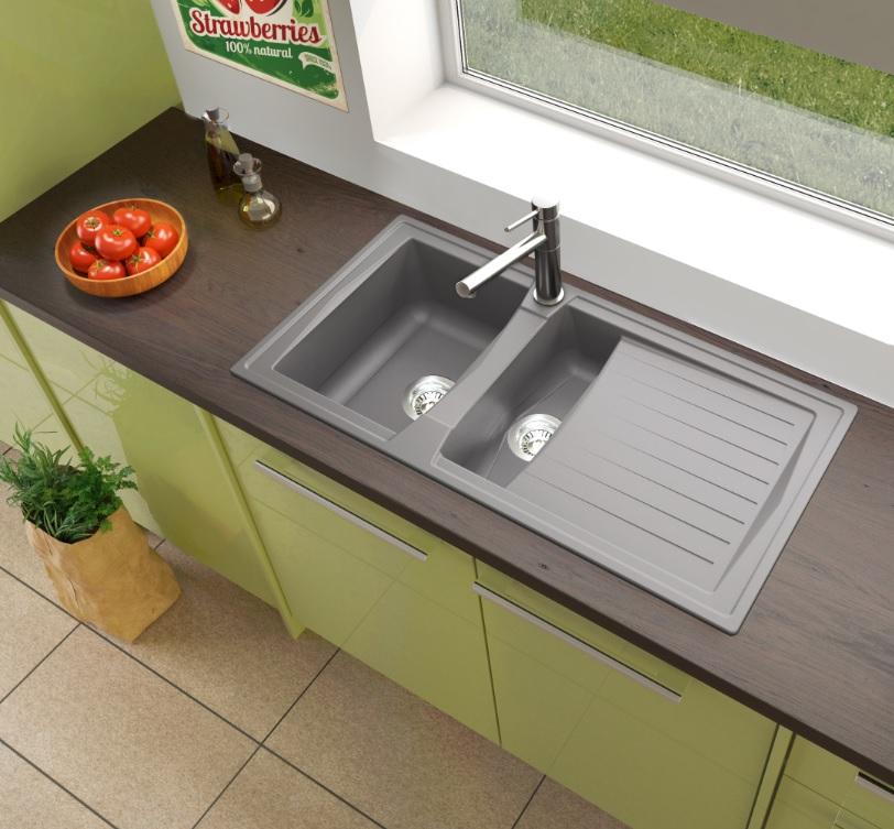 respekta Spüle Küchenspüle Einbauspüle Mineralite Spülbecken 100 x 50 beton grau