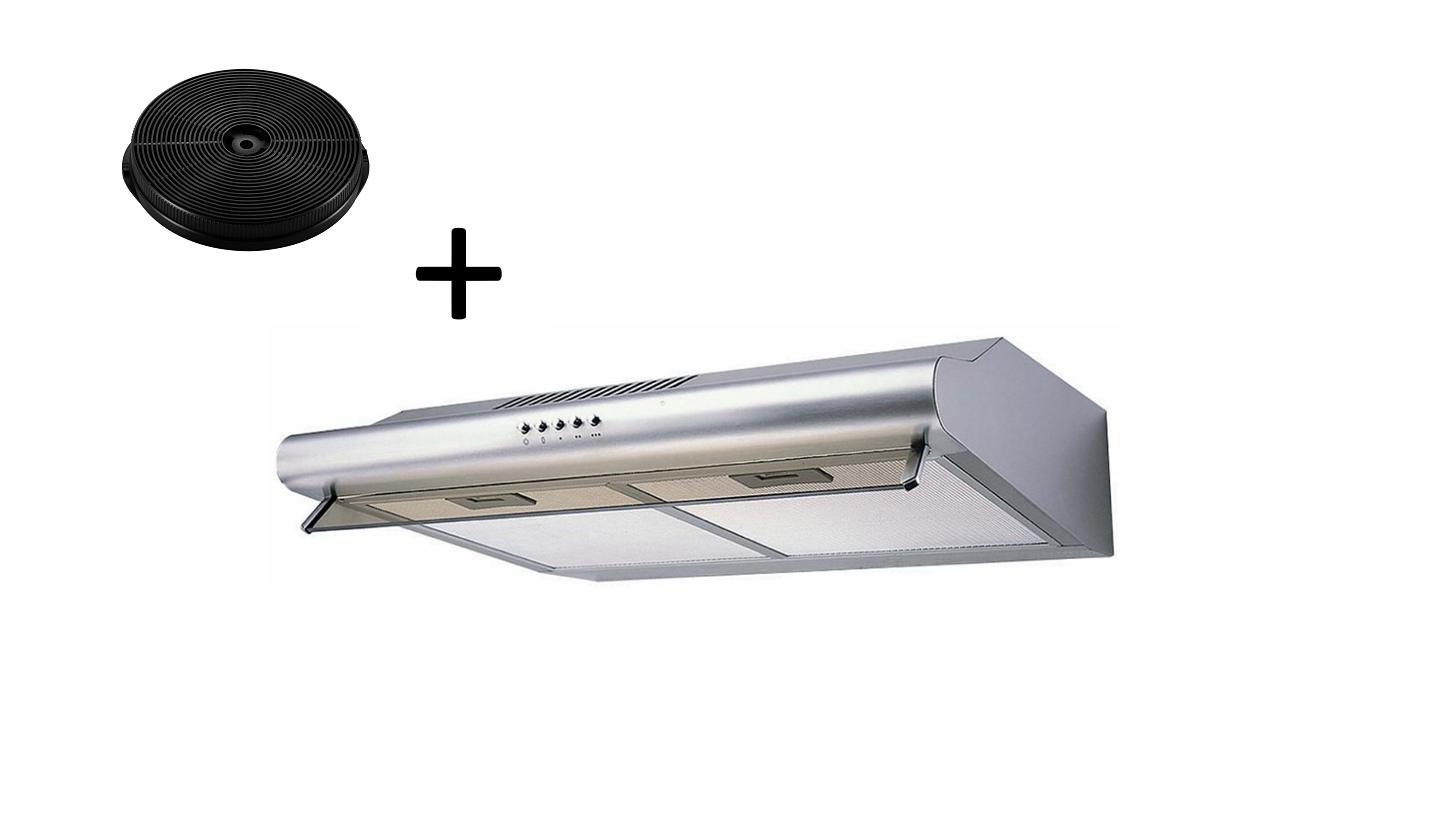 Dunstabzugshaube Wandhaube Unterbau 60 cm + Aktivkohlefilter Umluftset respekta