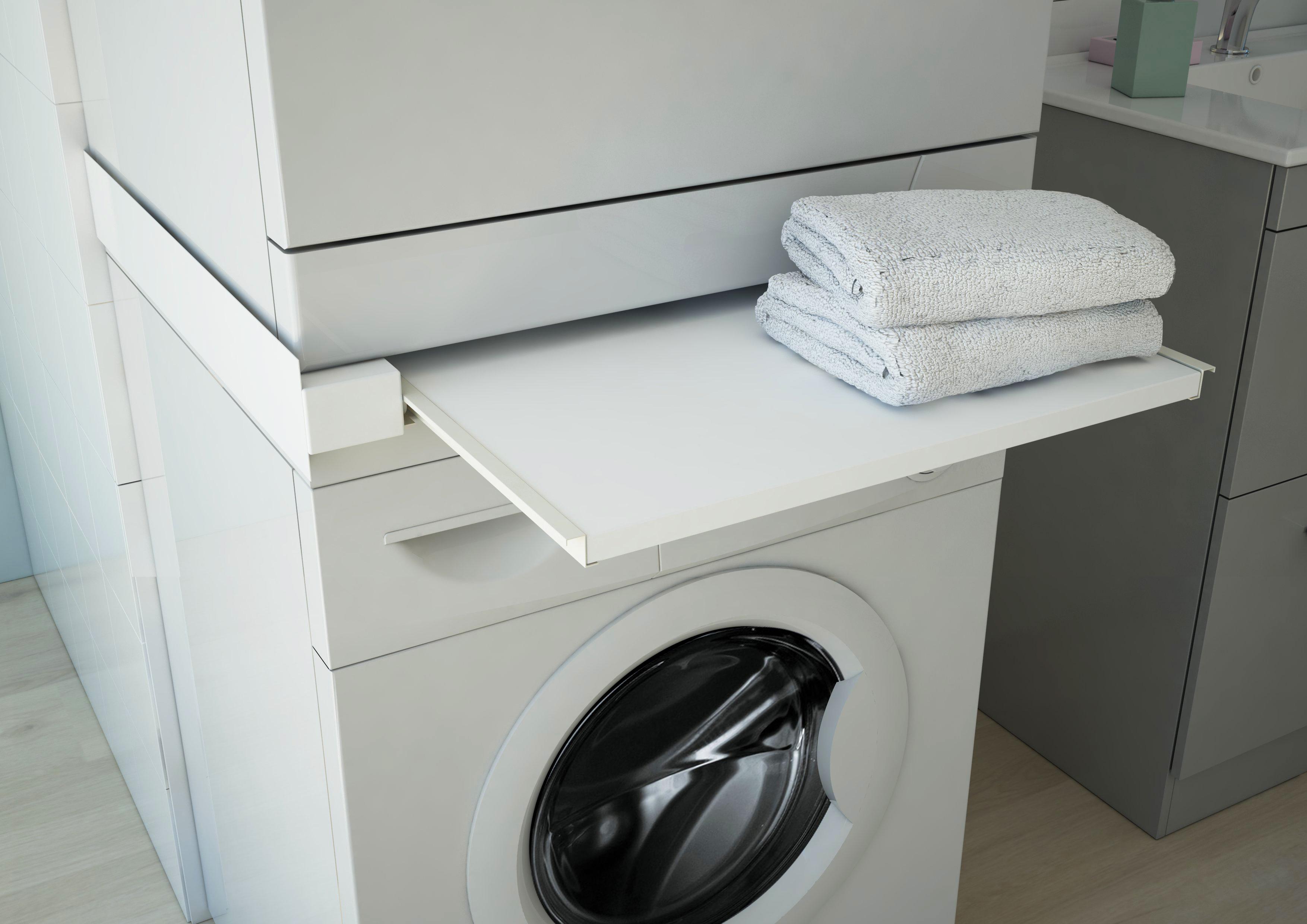 respekta Waschmaschinen-Zwischenboden Waschmaschinen-Ablagefach weiß ausziehbar